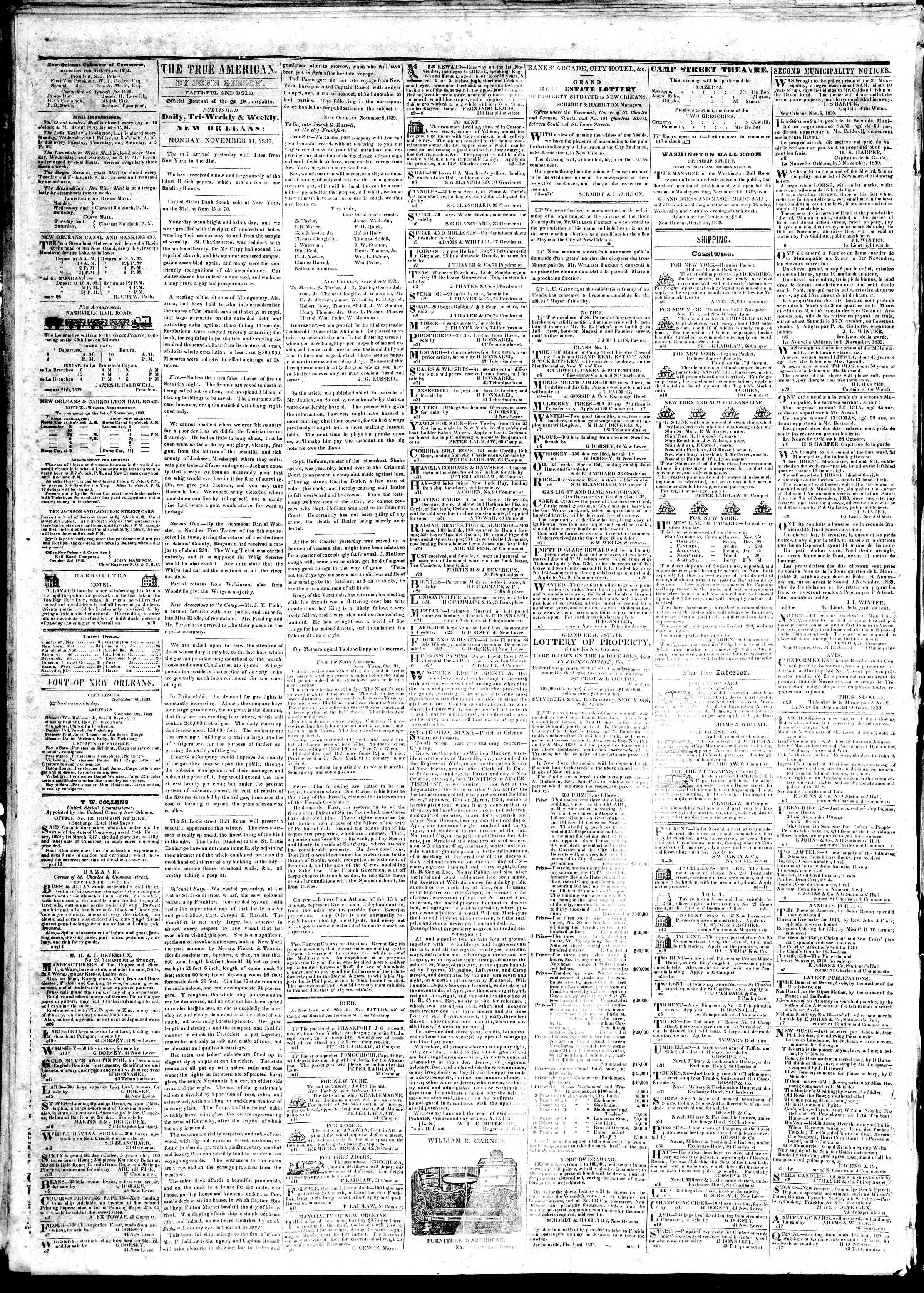November 11, 1839 Tarihli True American Gazetesi Sayfa 2