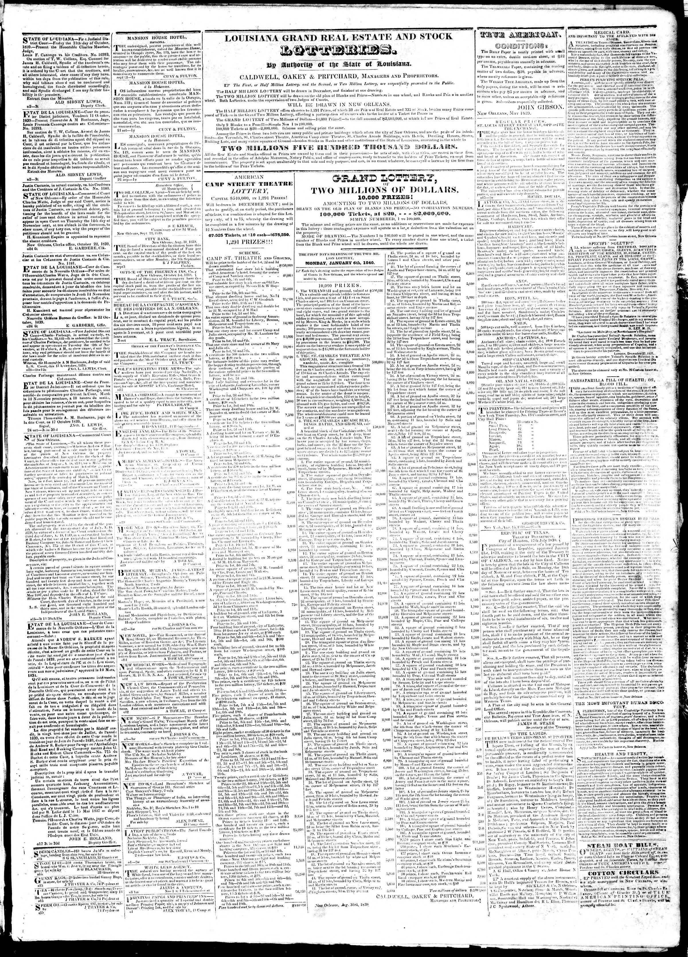 November 11, 1839 Tarihli True American Gazetesi Sayfa 3