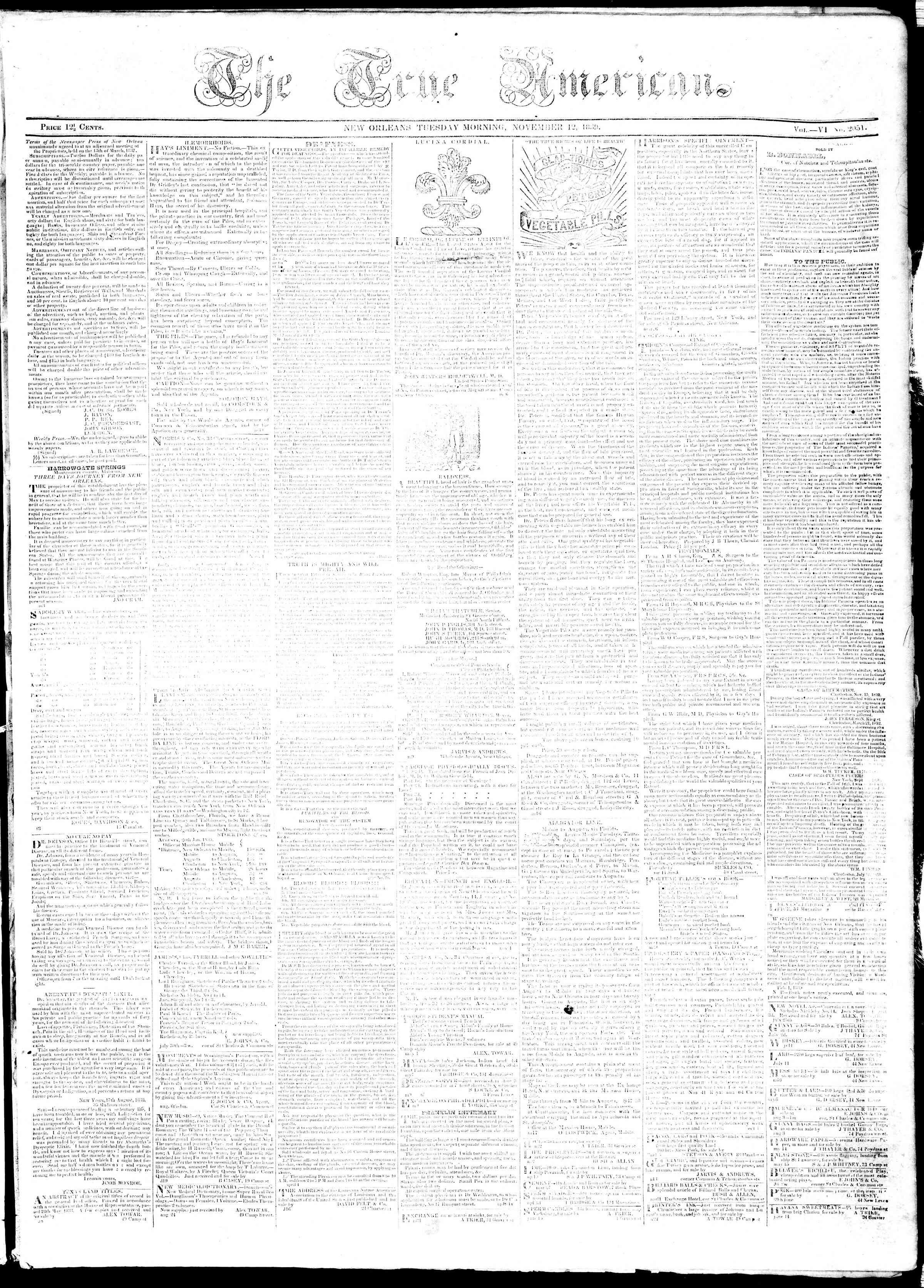 November 12, 1839 Tarihli True American Gazetesi Sayfa 1