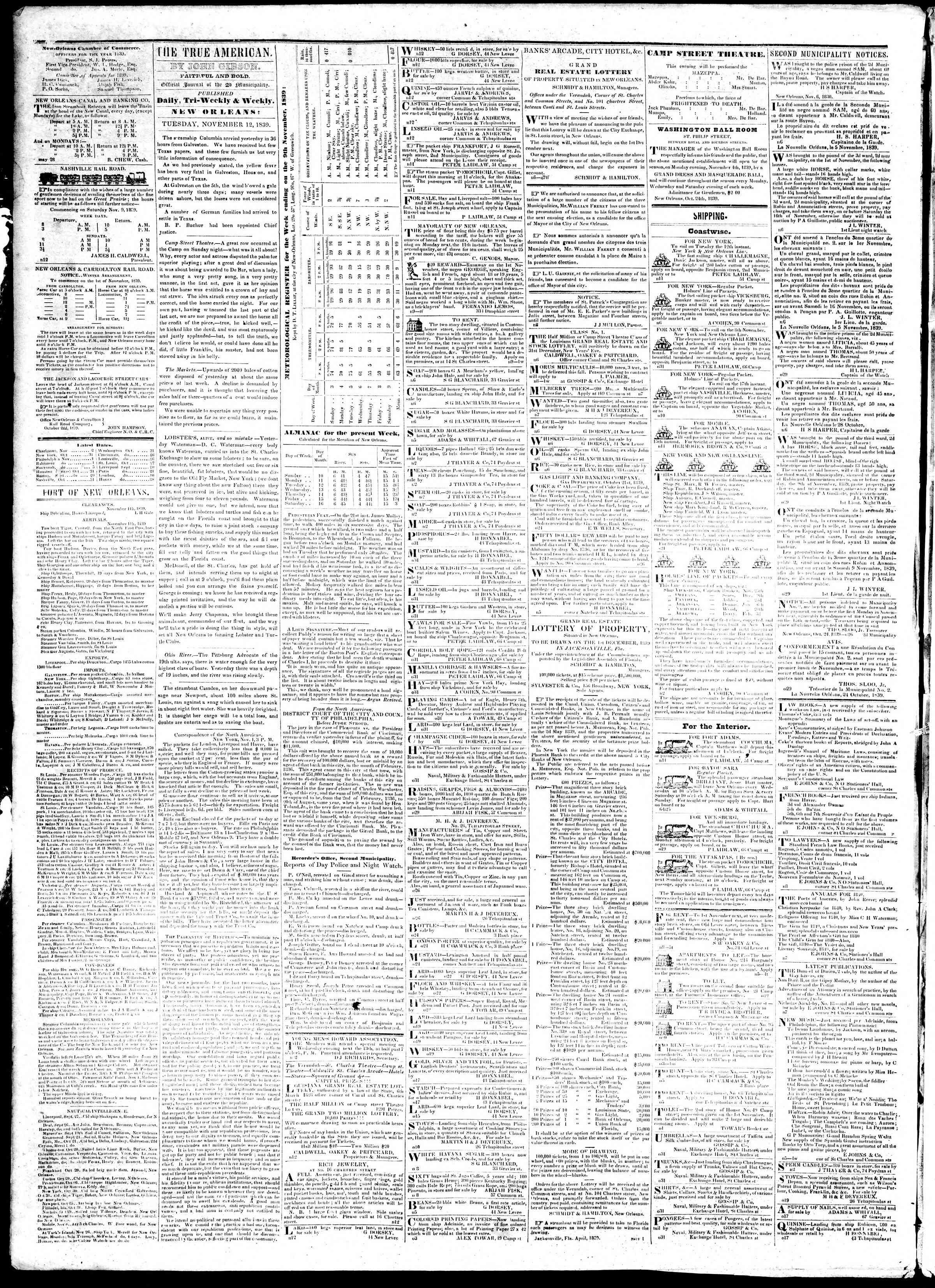 12 Kasım 1839 tarihli True American Gazetesi Sayfa 2