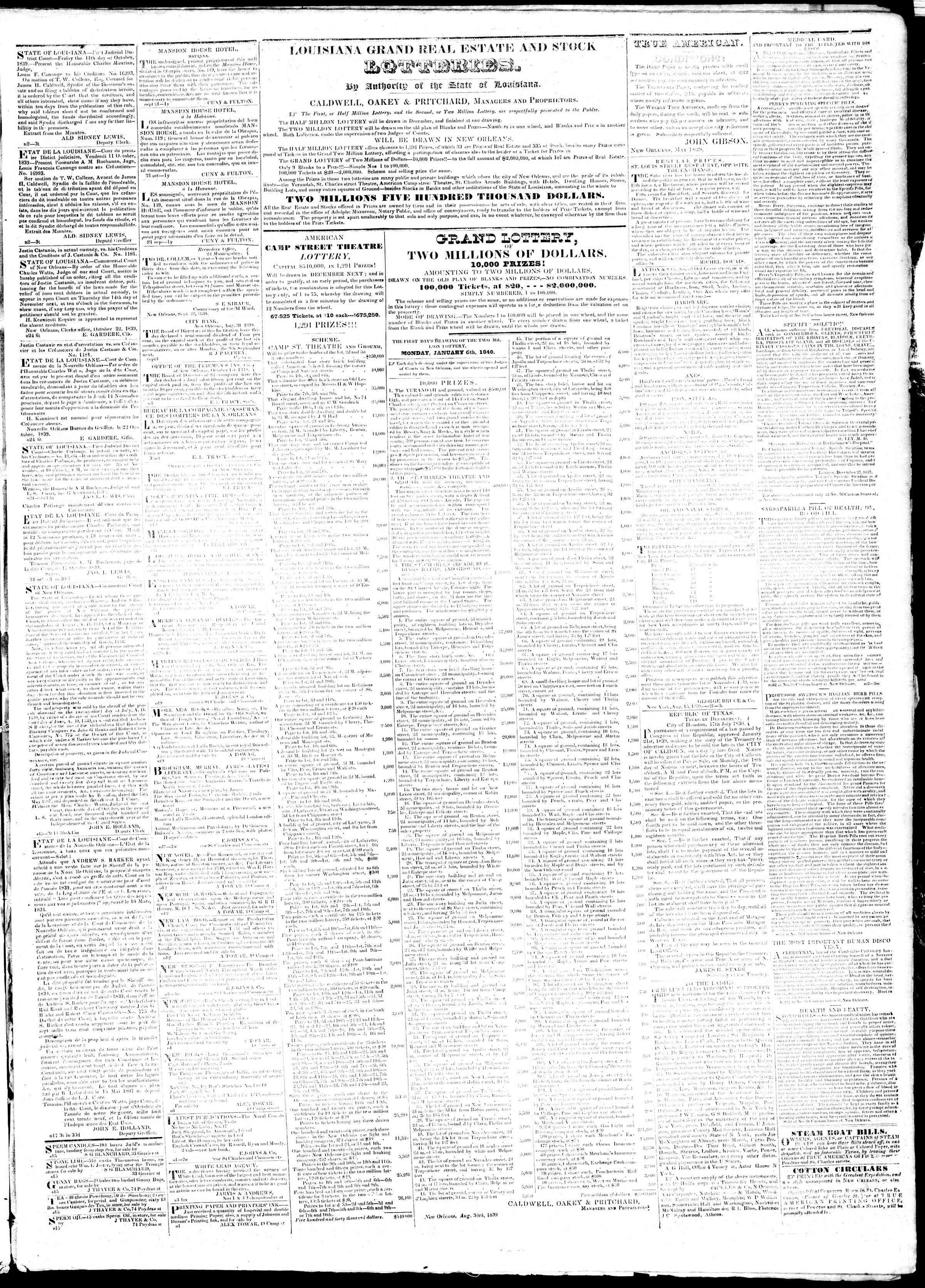 November 12, 1839 Tarihli True American Gazetesi Sayfa 3