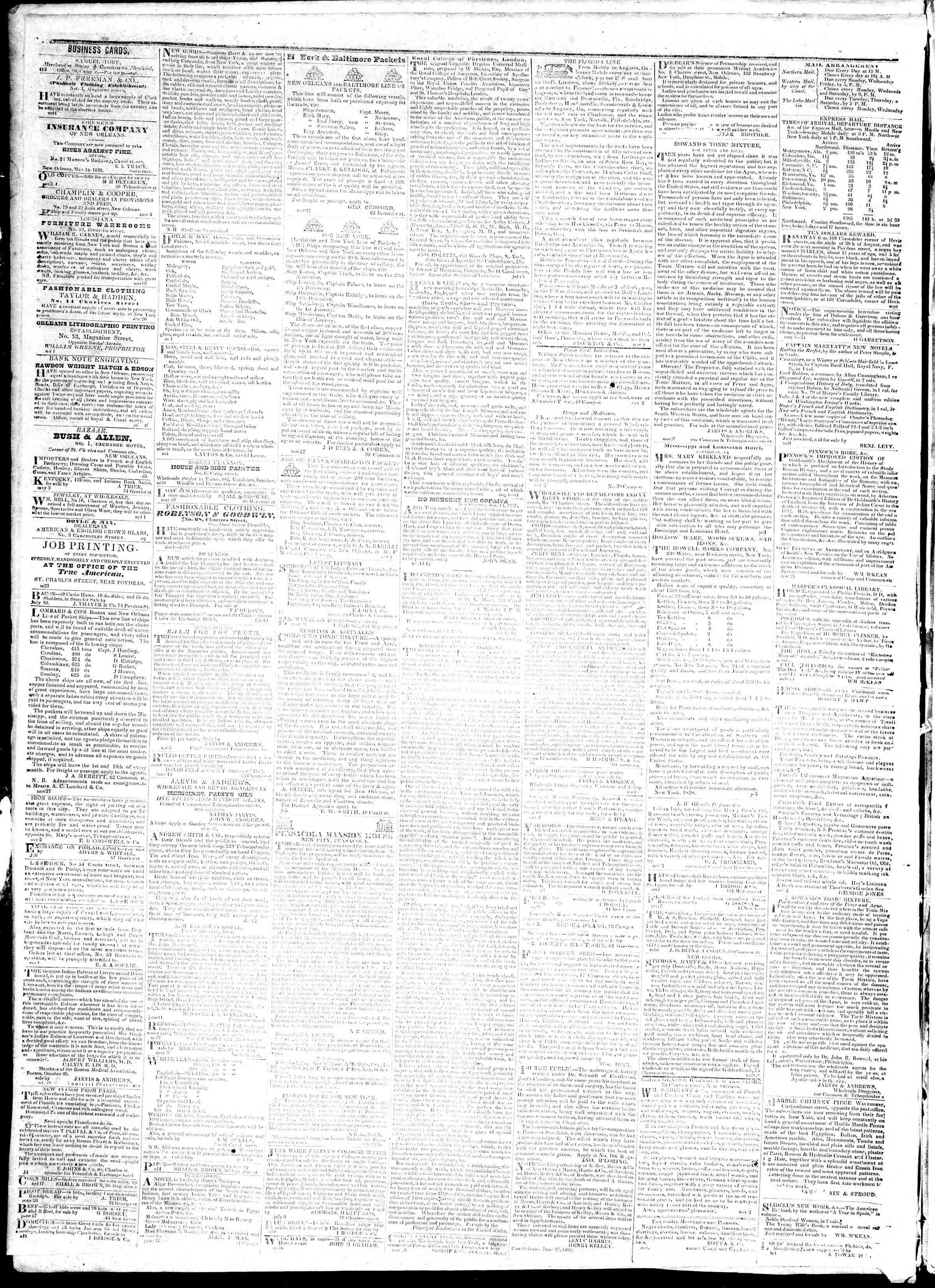 November 12, 1839 Tarihli True American Gazetesi Sayfa 4