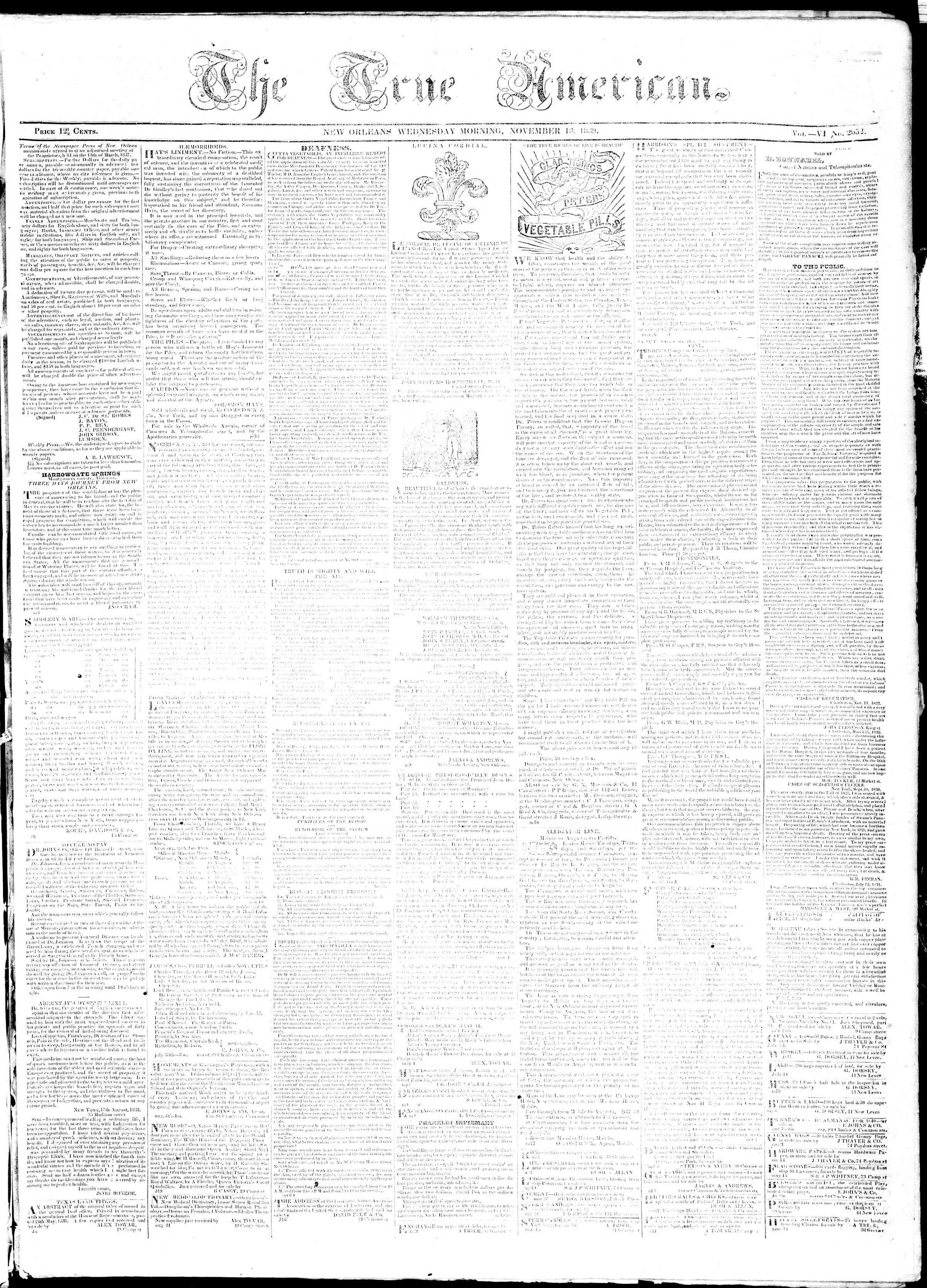 November 13, 1839 Tarihli True American Gazetesi Sayfa 1