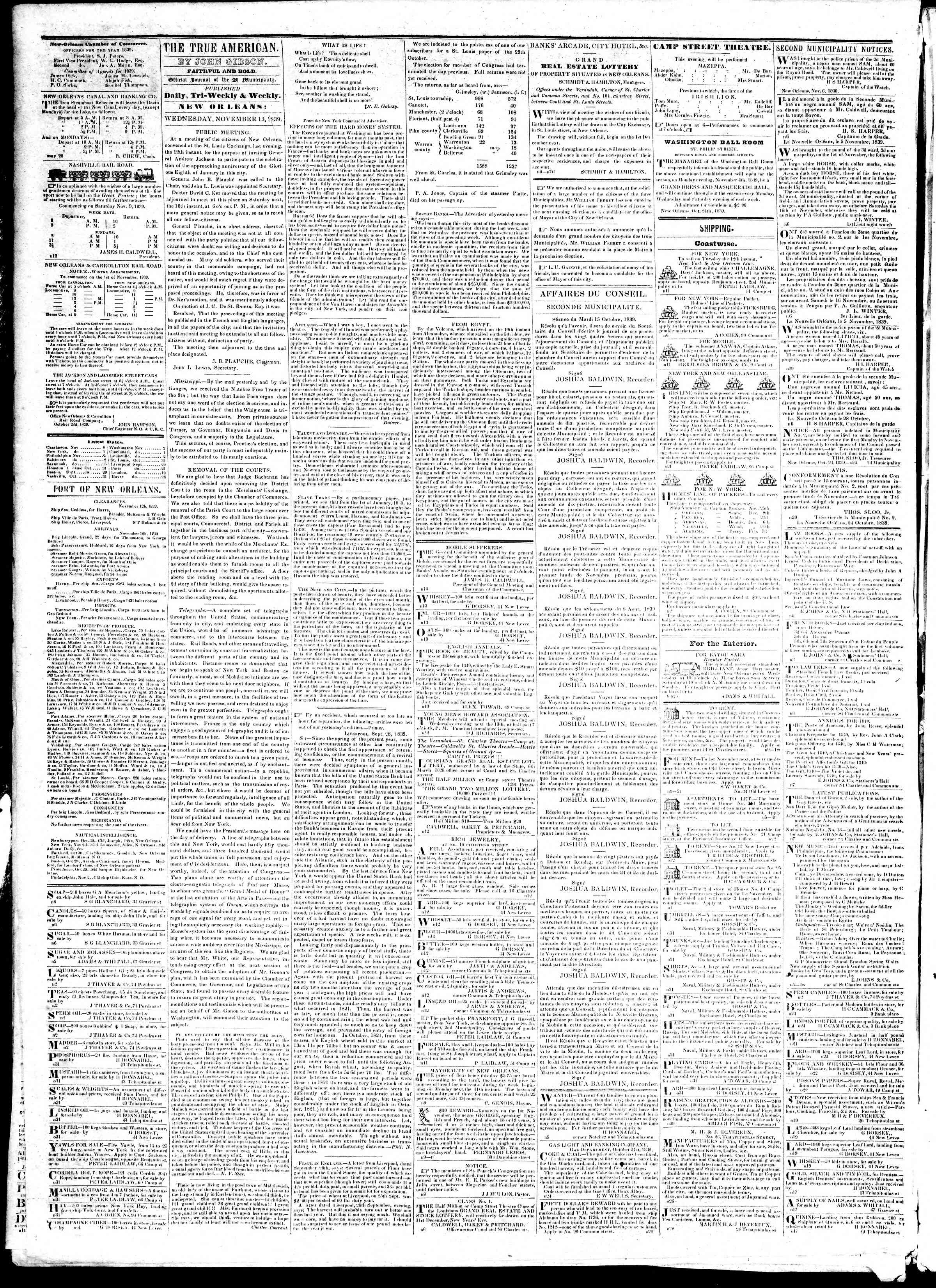 Newspaper of True American dated November 13, 1839 Page 2
