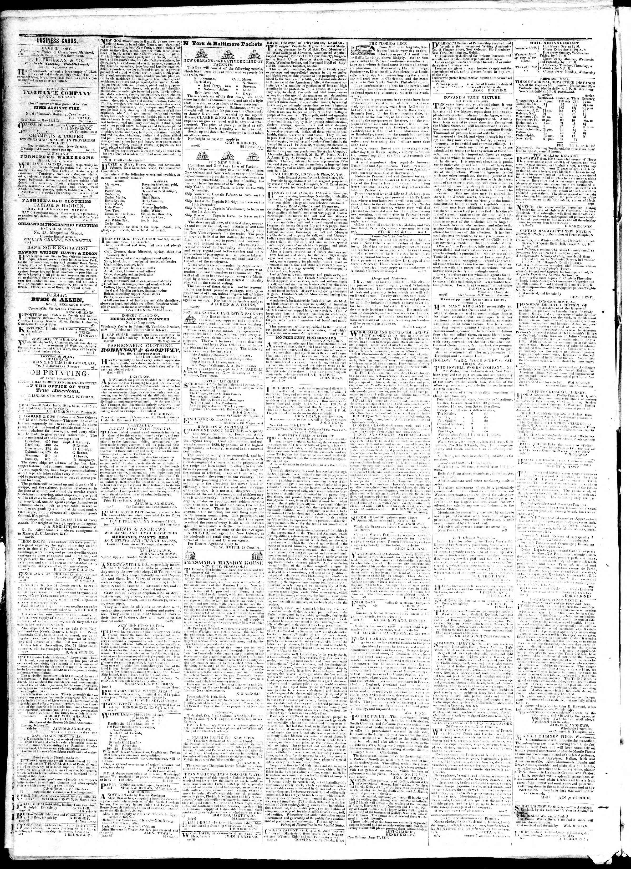 November 13, 1839 Tarihli True American Gazetesi Sayfa 4