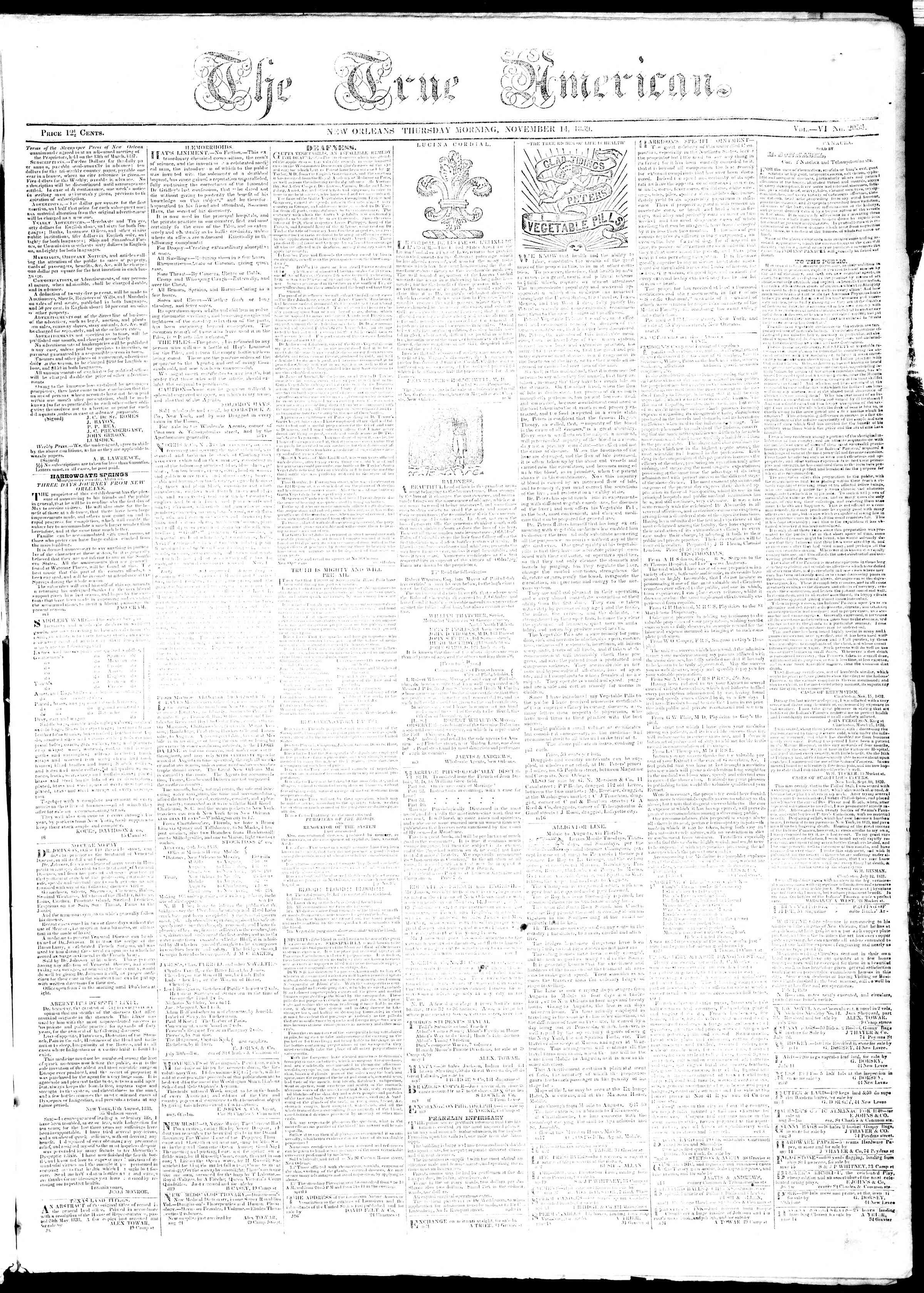 Newspaper of True American dated November 14, 1839 Page 1