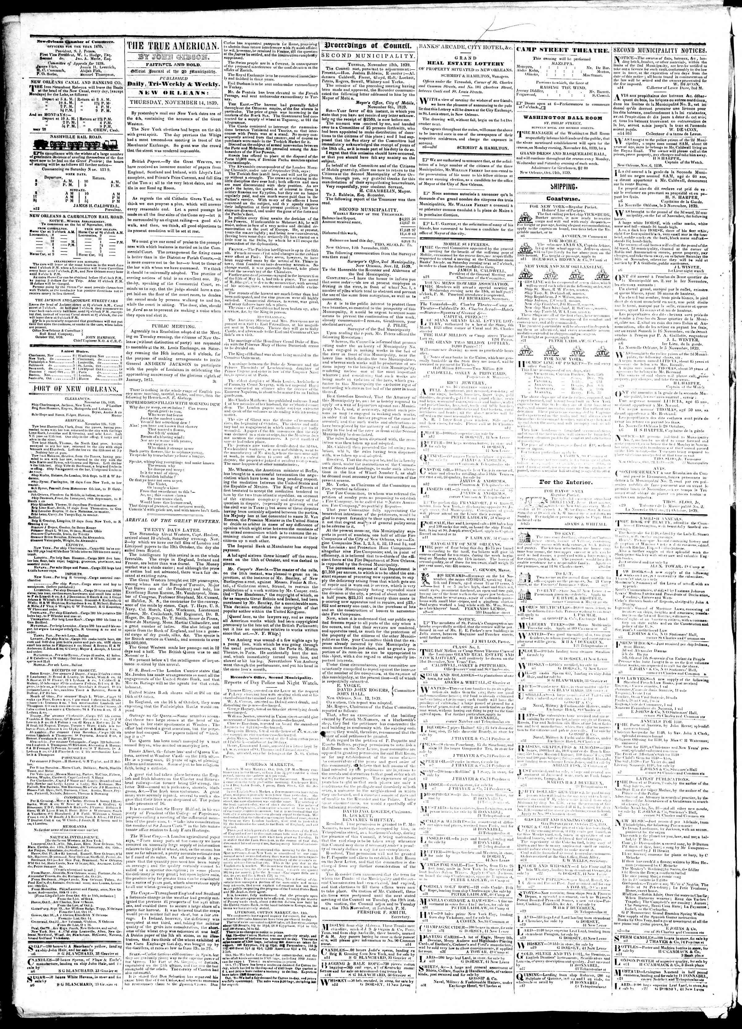 November 14, 1839 Tarihli True American Gazetesi Sayfa 2