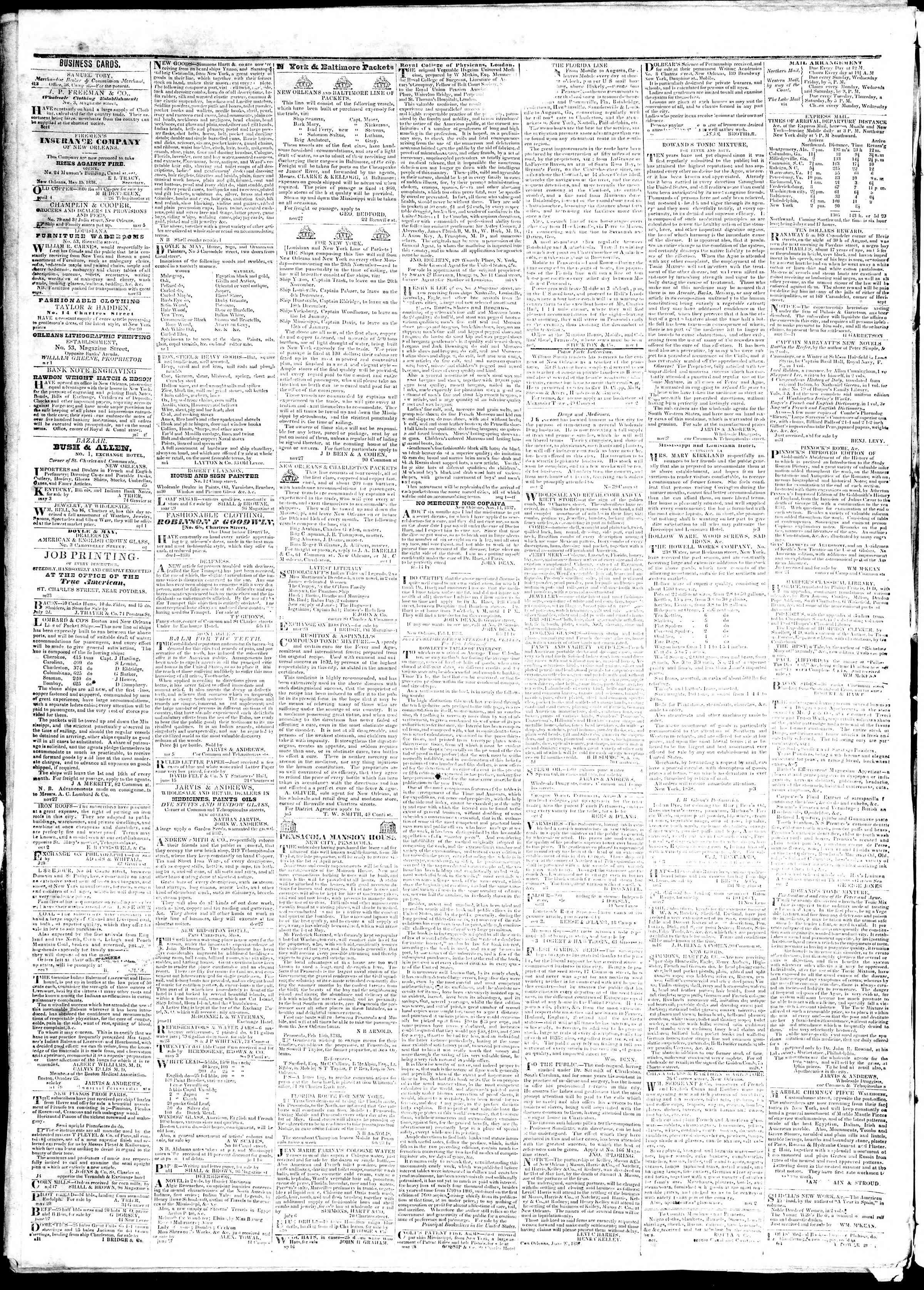 November 14, 1839 Tarihli True American Gazetesi Sayfa 4