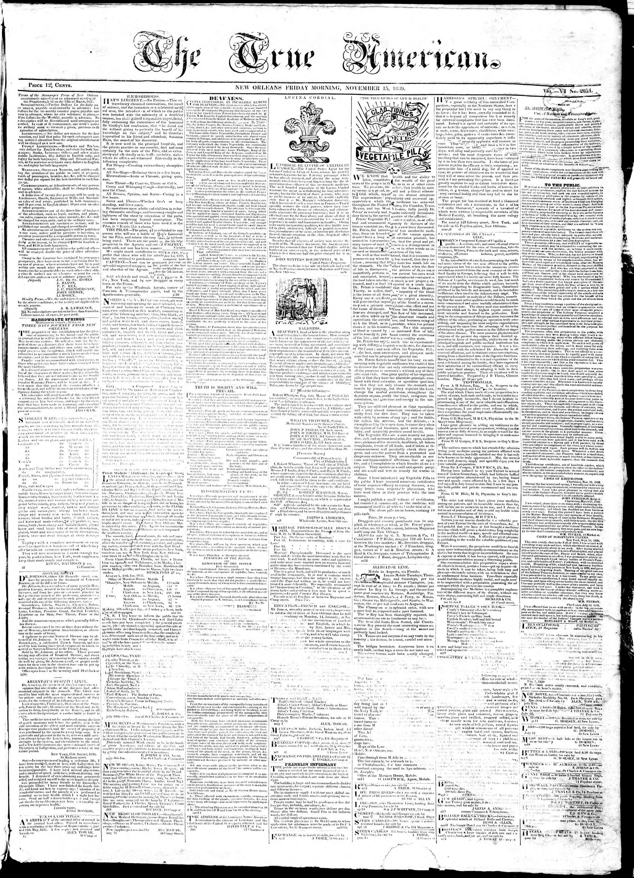 Newspaper of True American dated November 15, 1839 Page 1