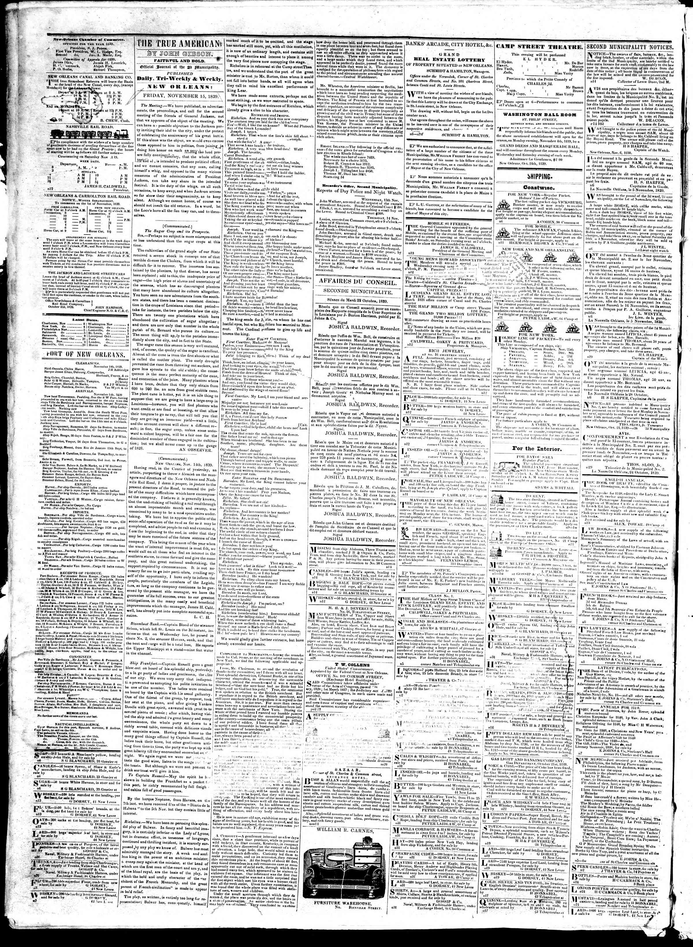 Newspaper of True American dated November 15, 1839 Page 2