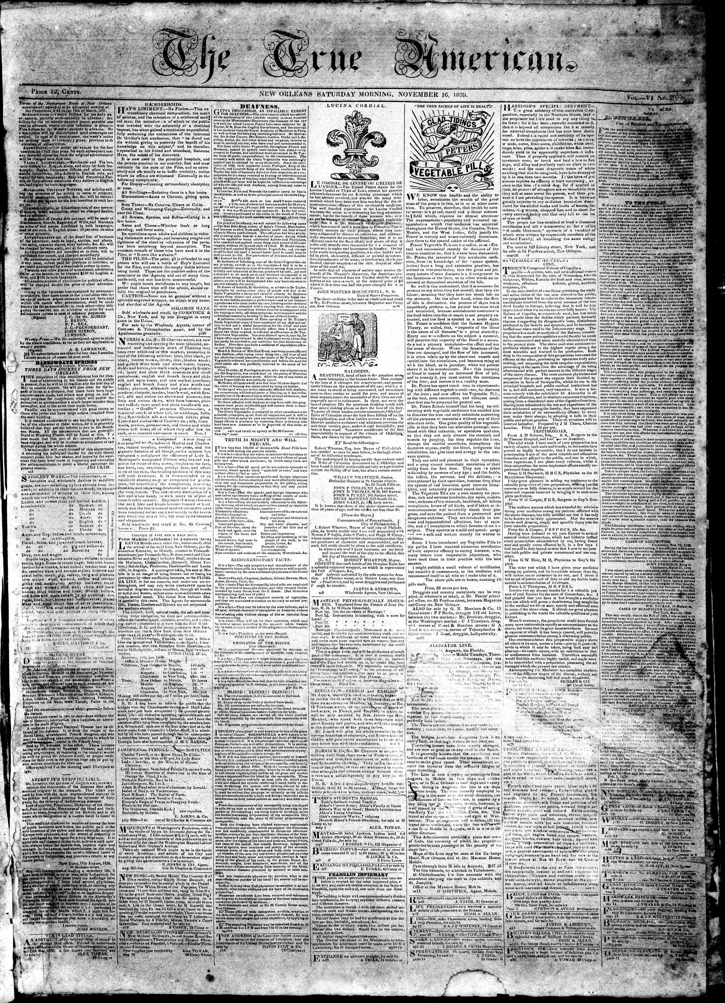 Newspaper of True American dated November 16, 1839 Page 1