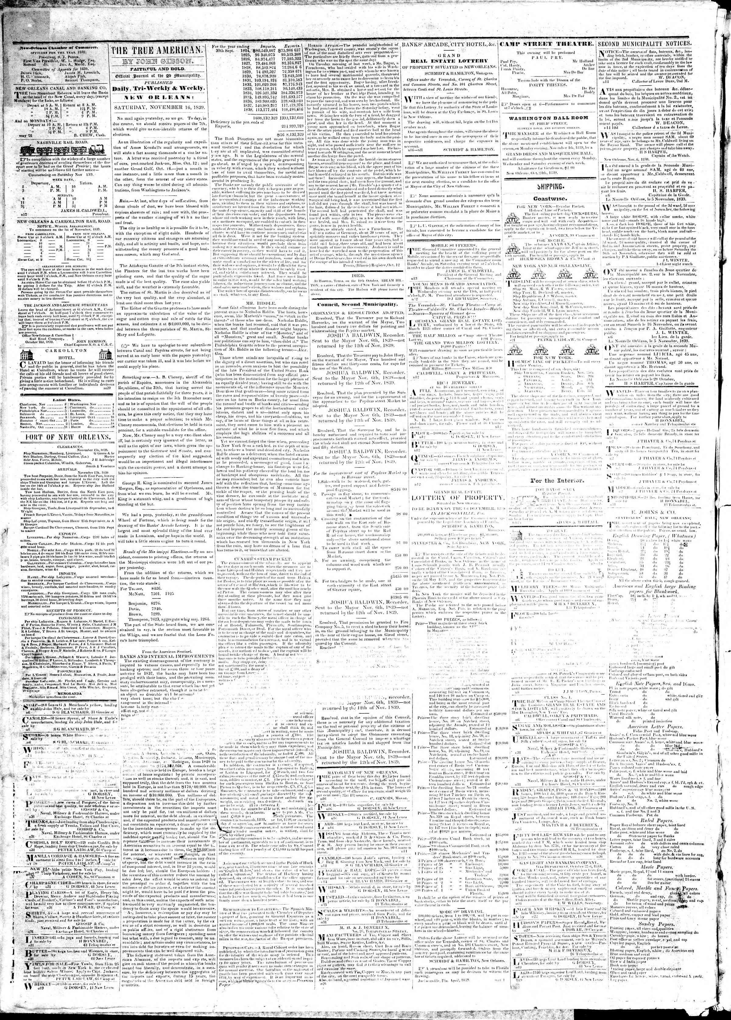 November 16, 1839 Tarihli True American Gazetesi Sayfa 2