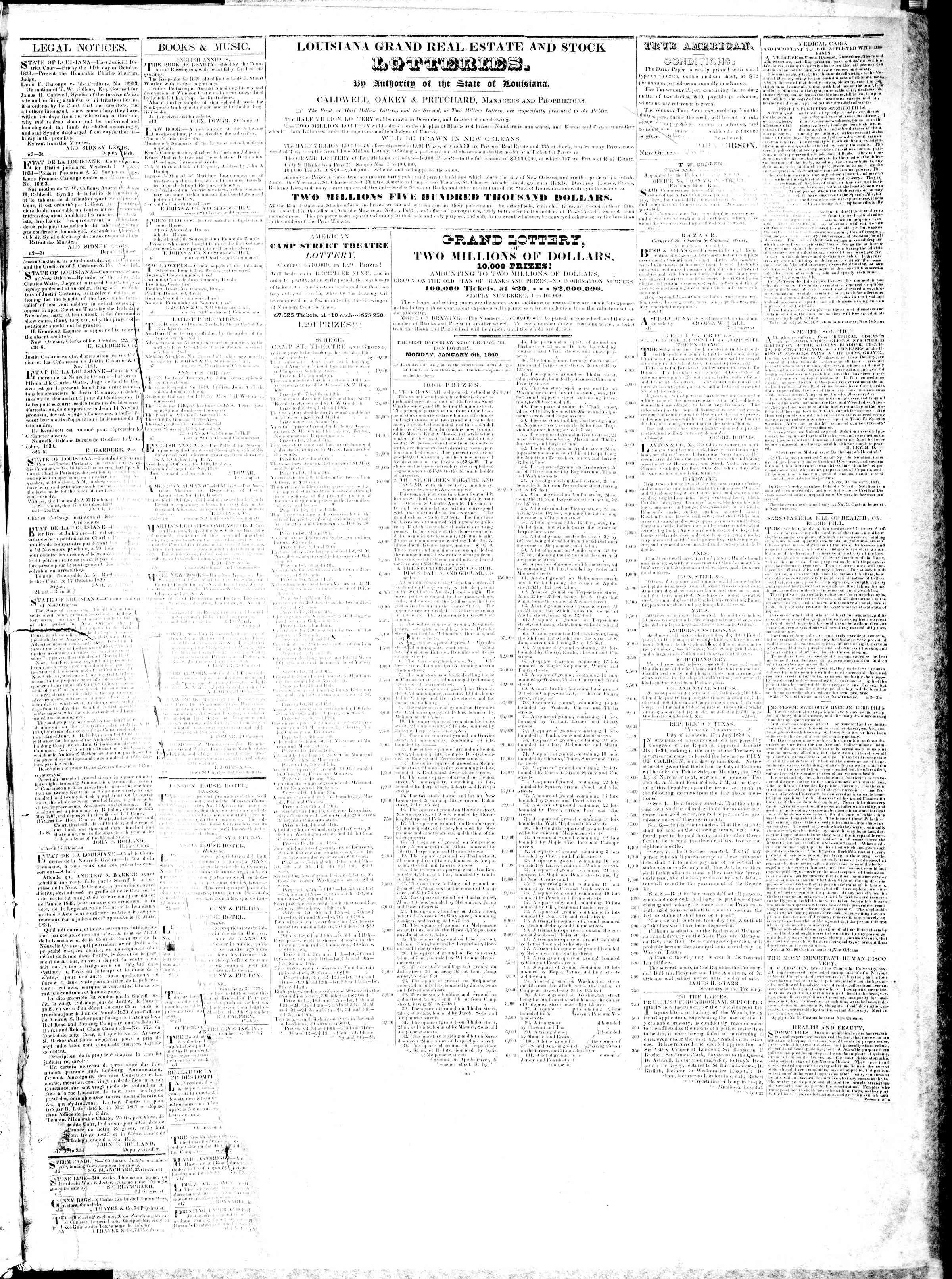 November 16, 1839 Tarihli True American Gazetesi Sayfa 3