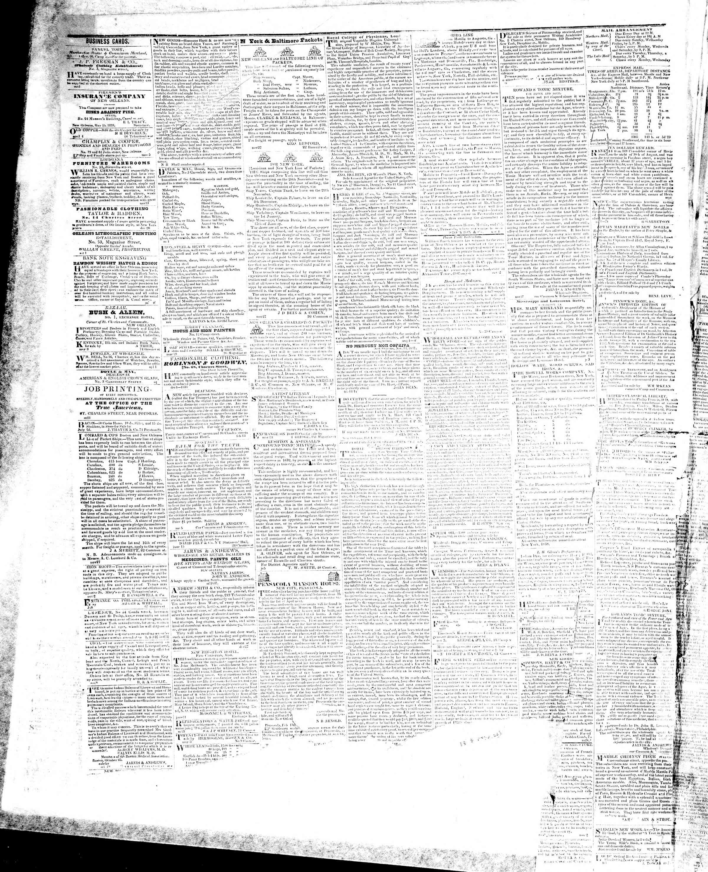 Newspaper of True American dated November 16, 1839 Page 4