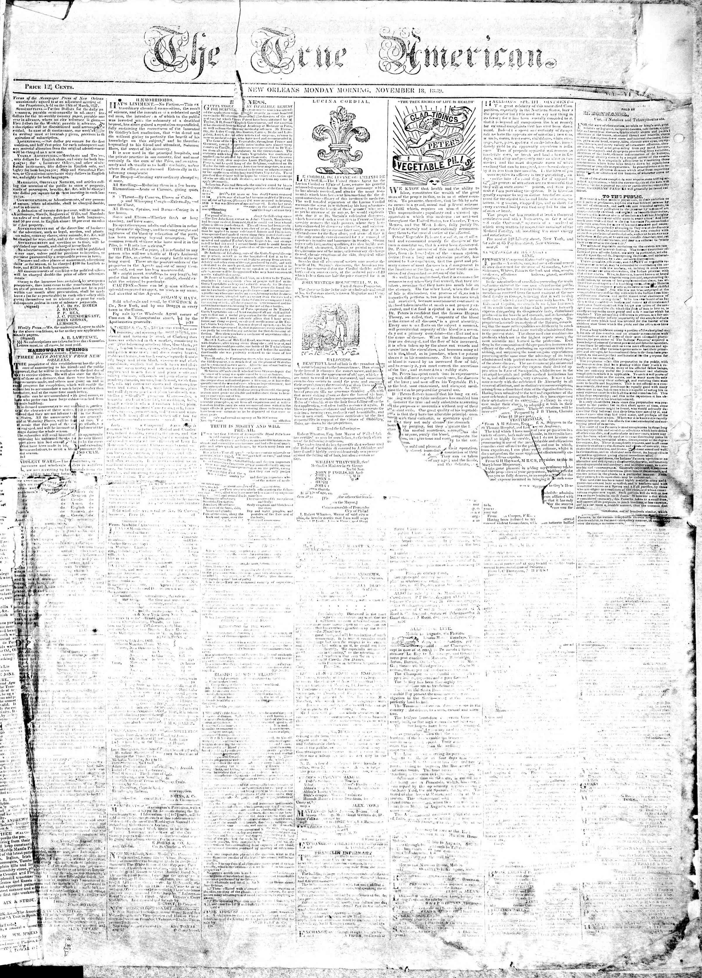 November 18, 1839 Tarihli True American Gazetesi Sayfa 1