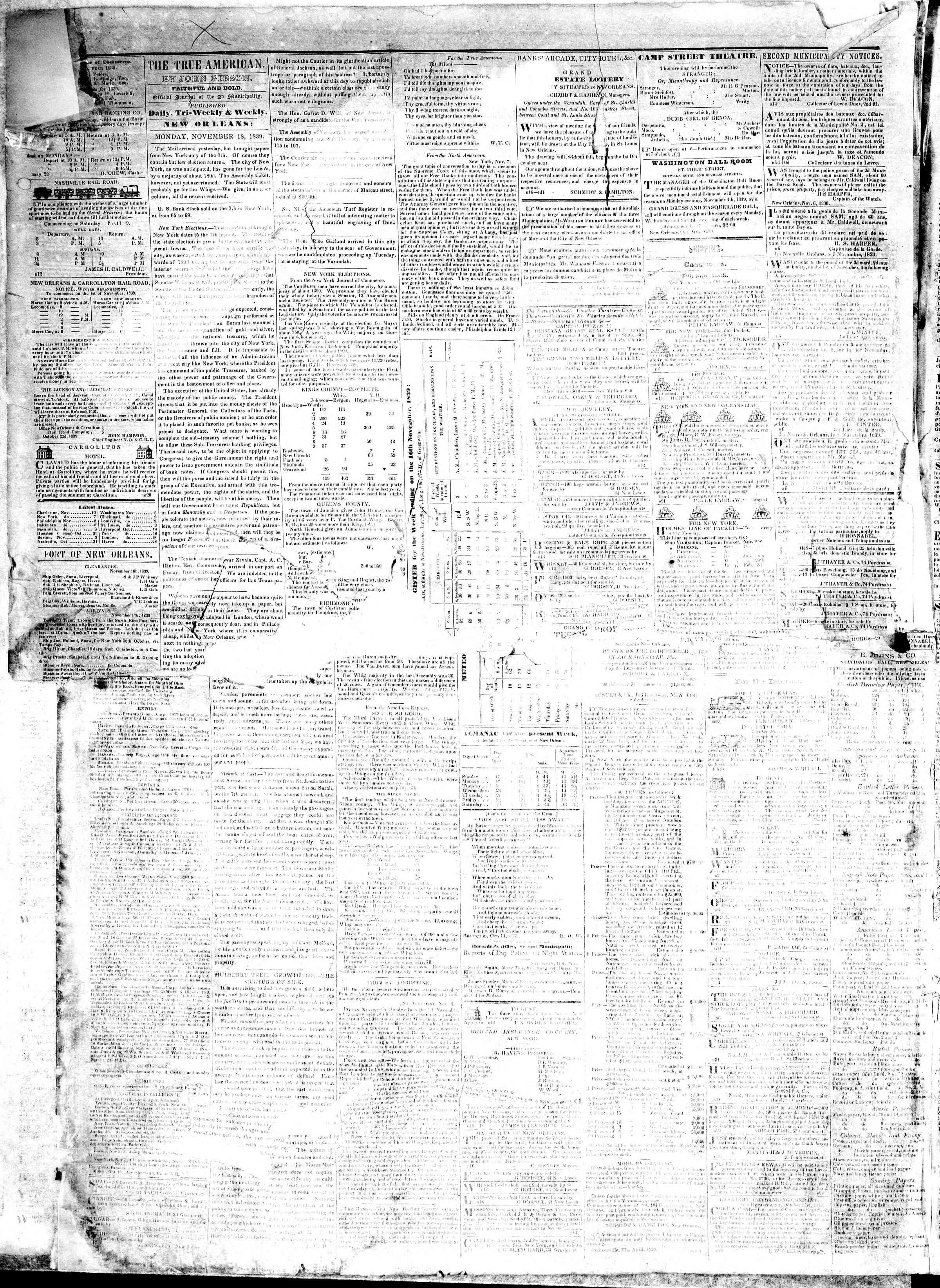 November 18, 1839 Tarihli True American Gazetesi Sayfa 2