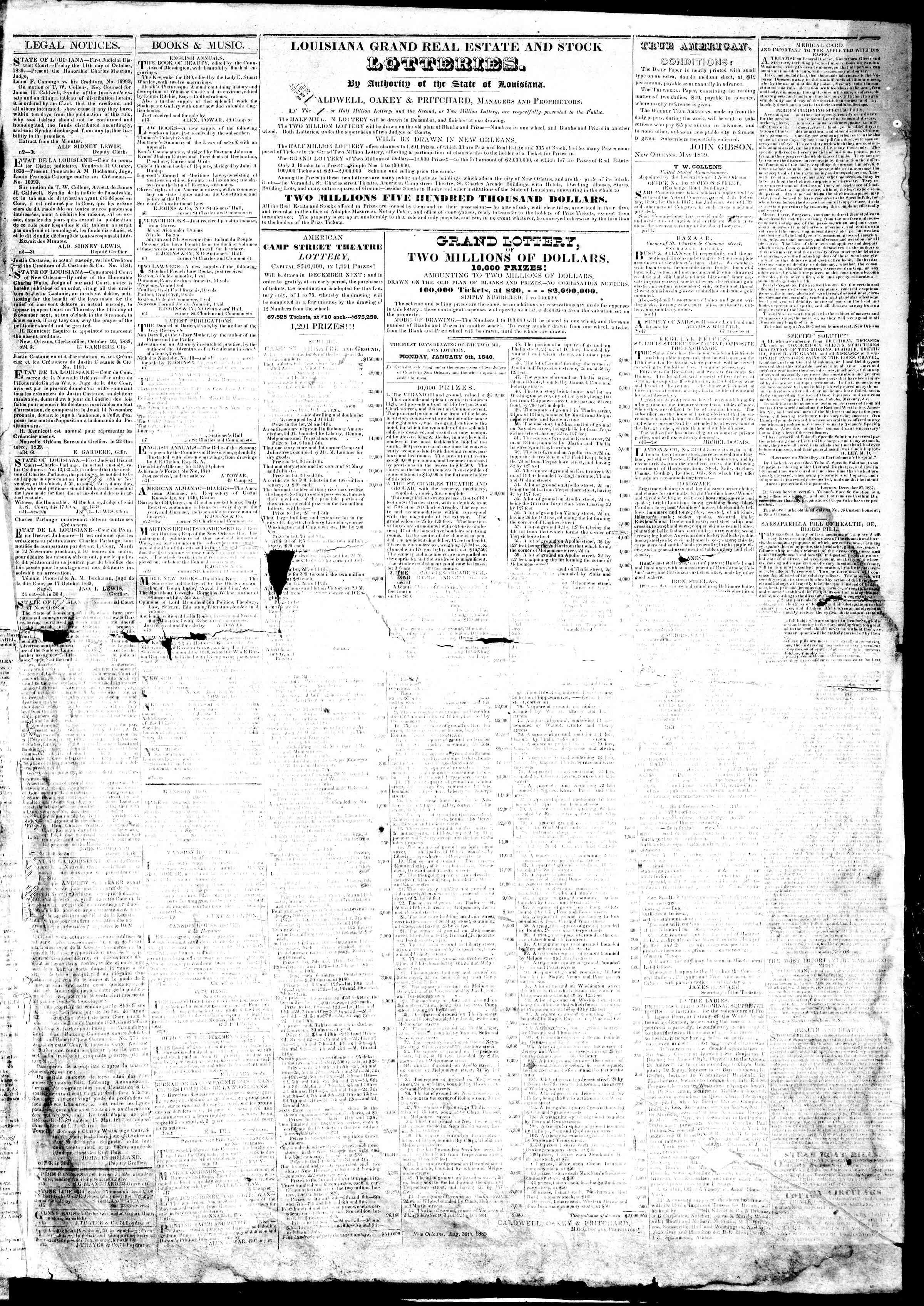 November 18, 1839 Tarihli True American Gazetesi Sayfa 3