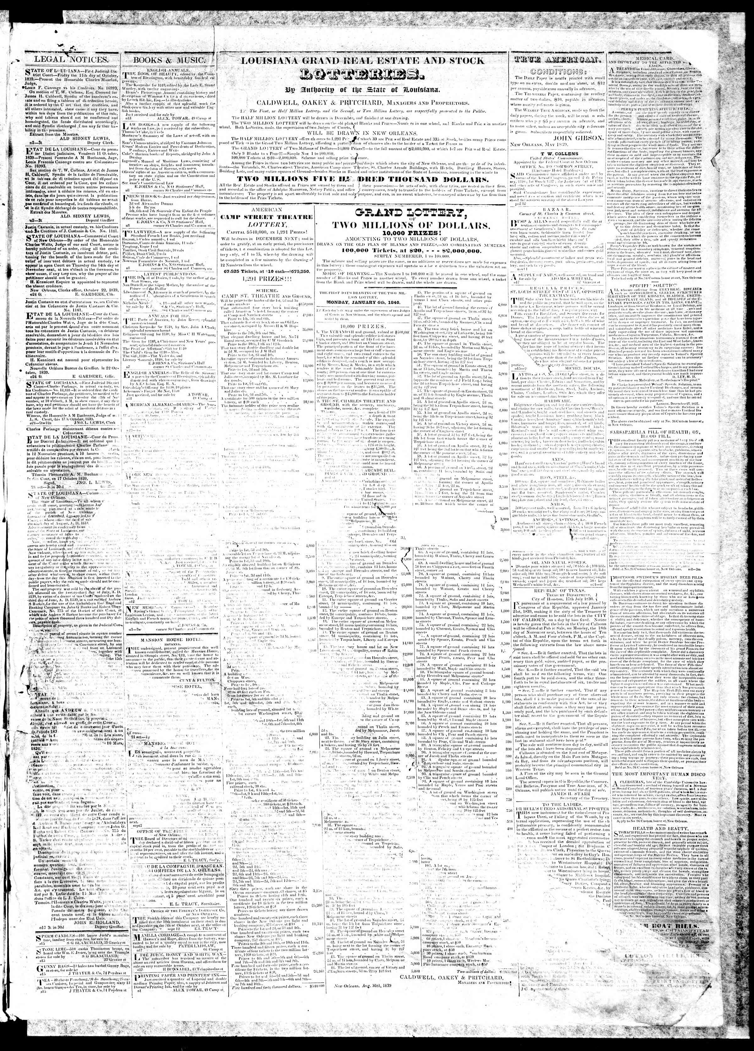 Newspaper of True American dated November 19, 1839 Page 3