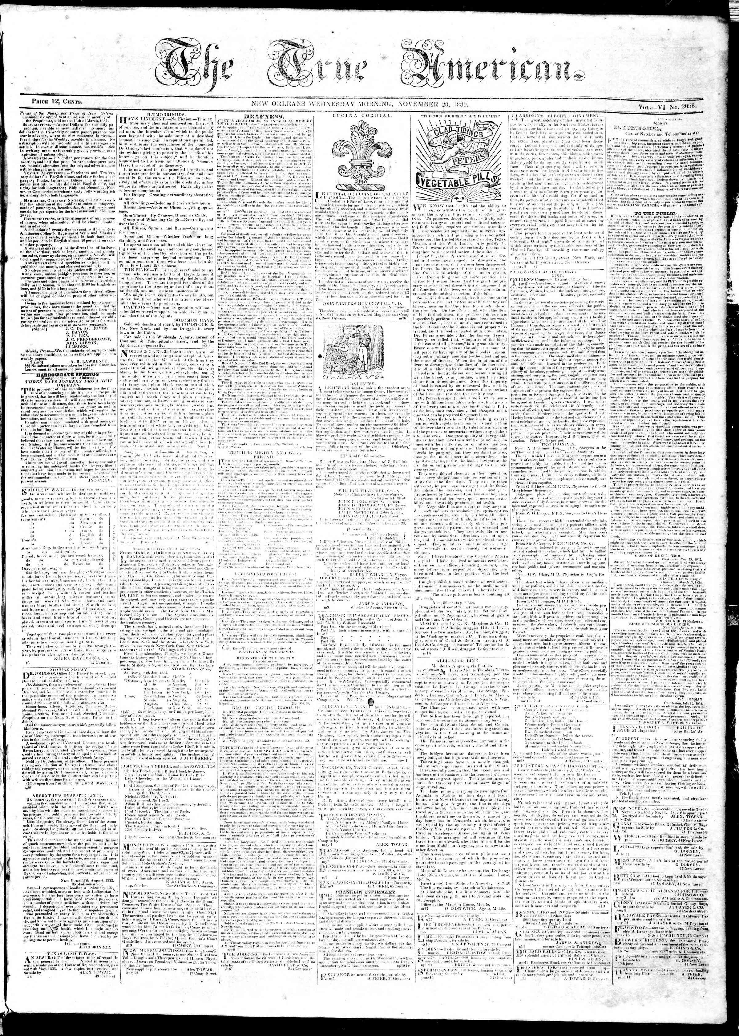 November 20, 1839 Tarihli True American Gazetesi Sayfa 1