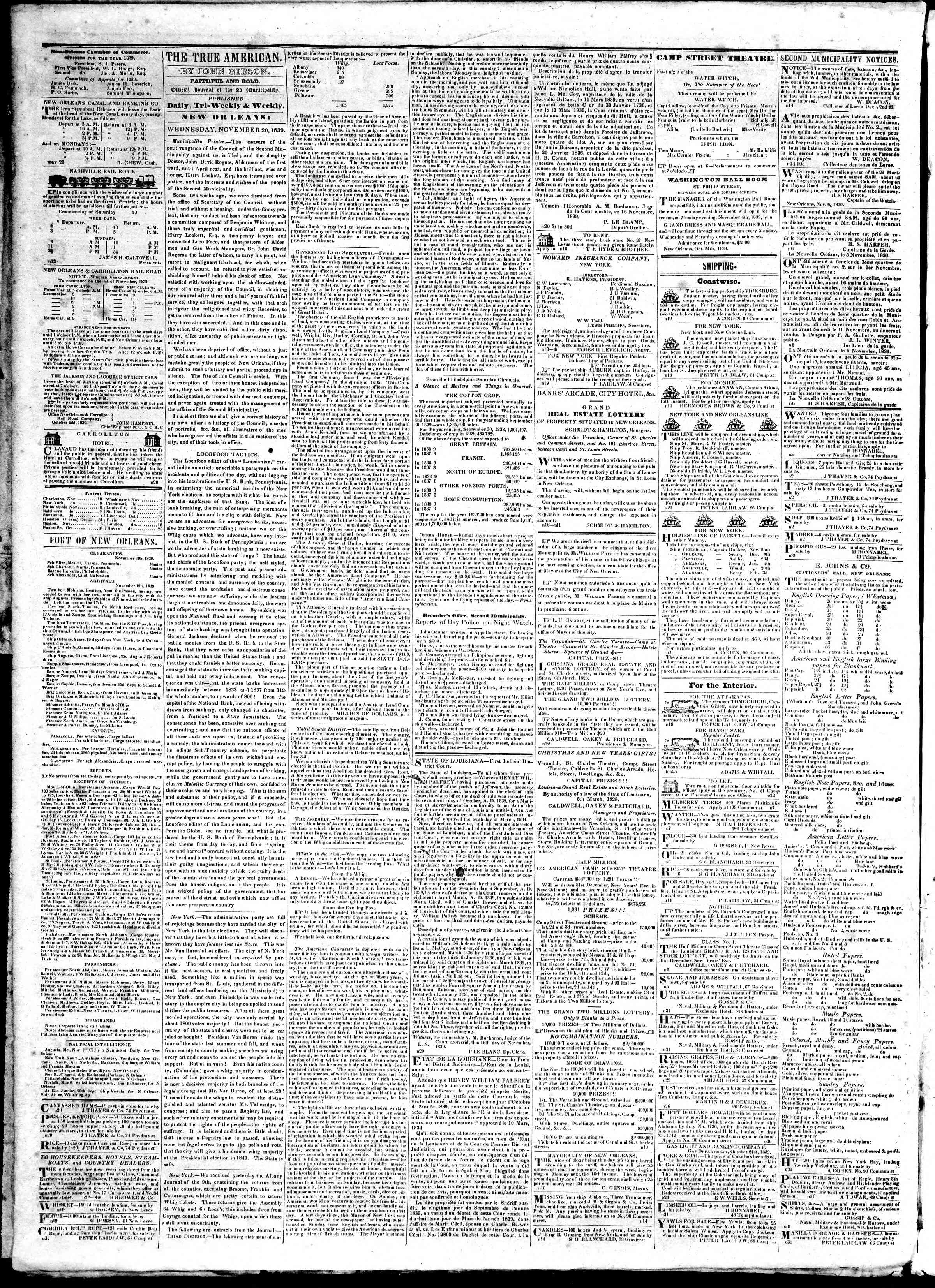 November 20, 1839 Tarihli True American Gazetesi Sayfa 2