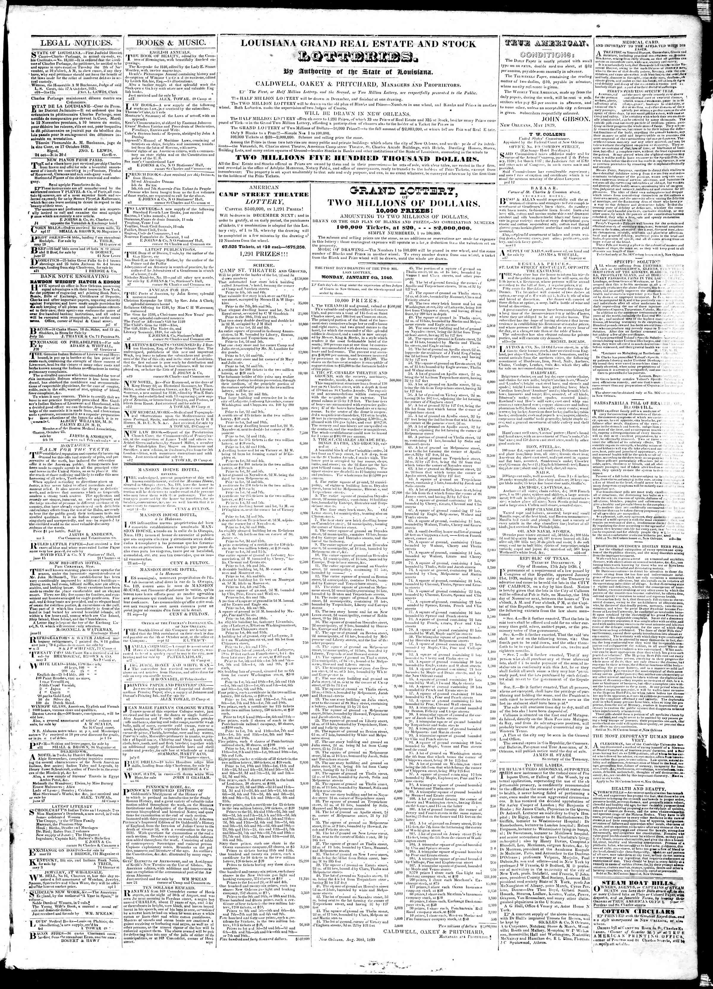 Newspaper of True American dated November 20, 1839 Page 3