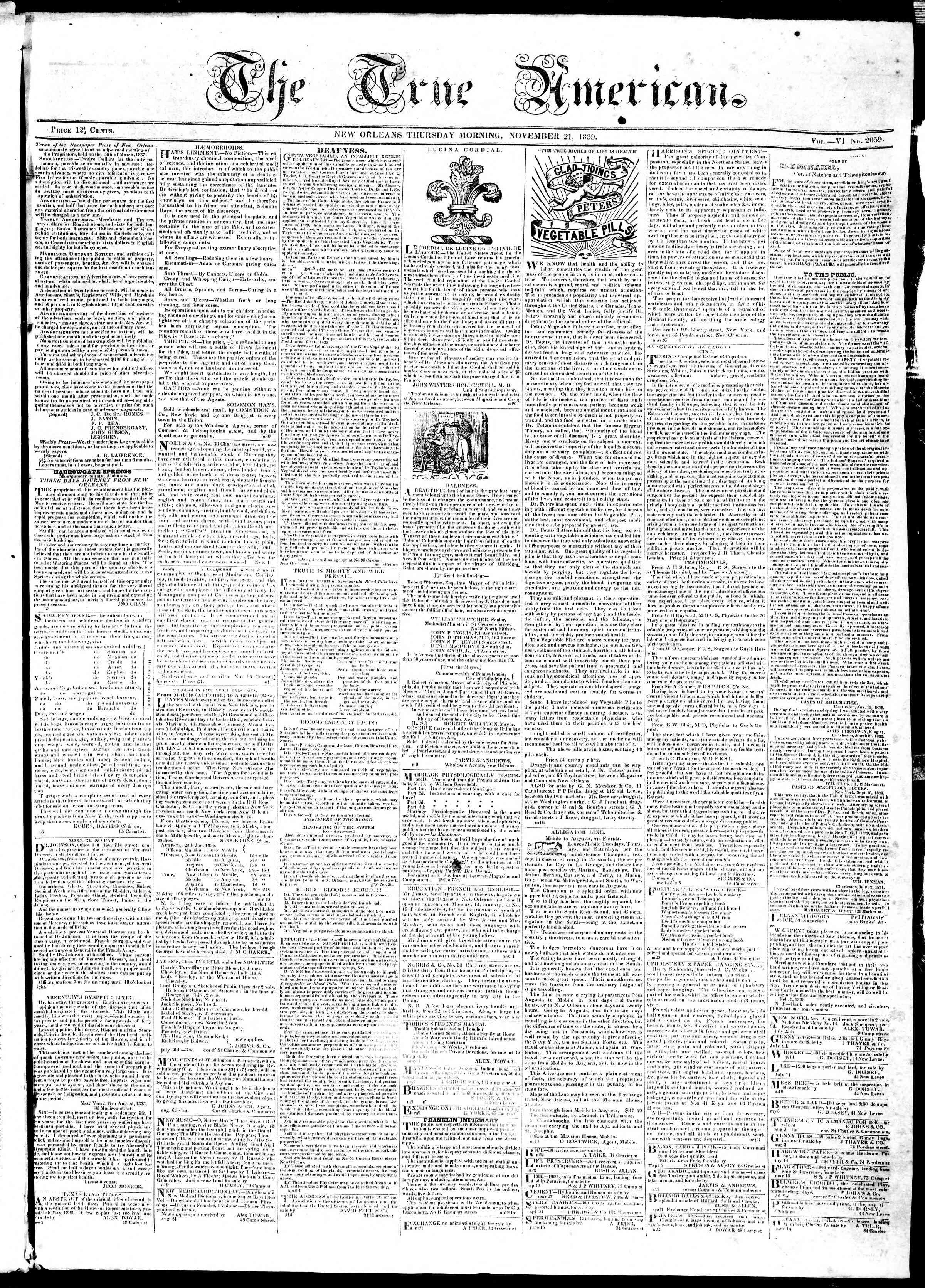 November 21, 1839 Tarihli True American Gazetesi Sayfa 1