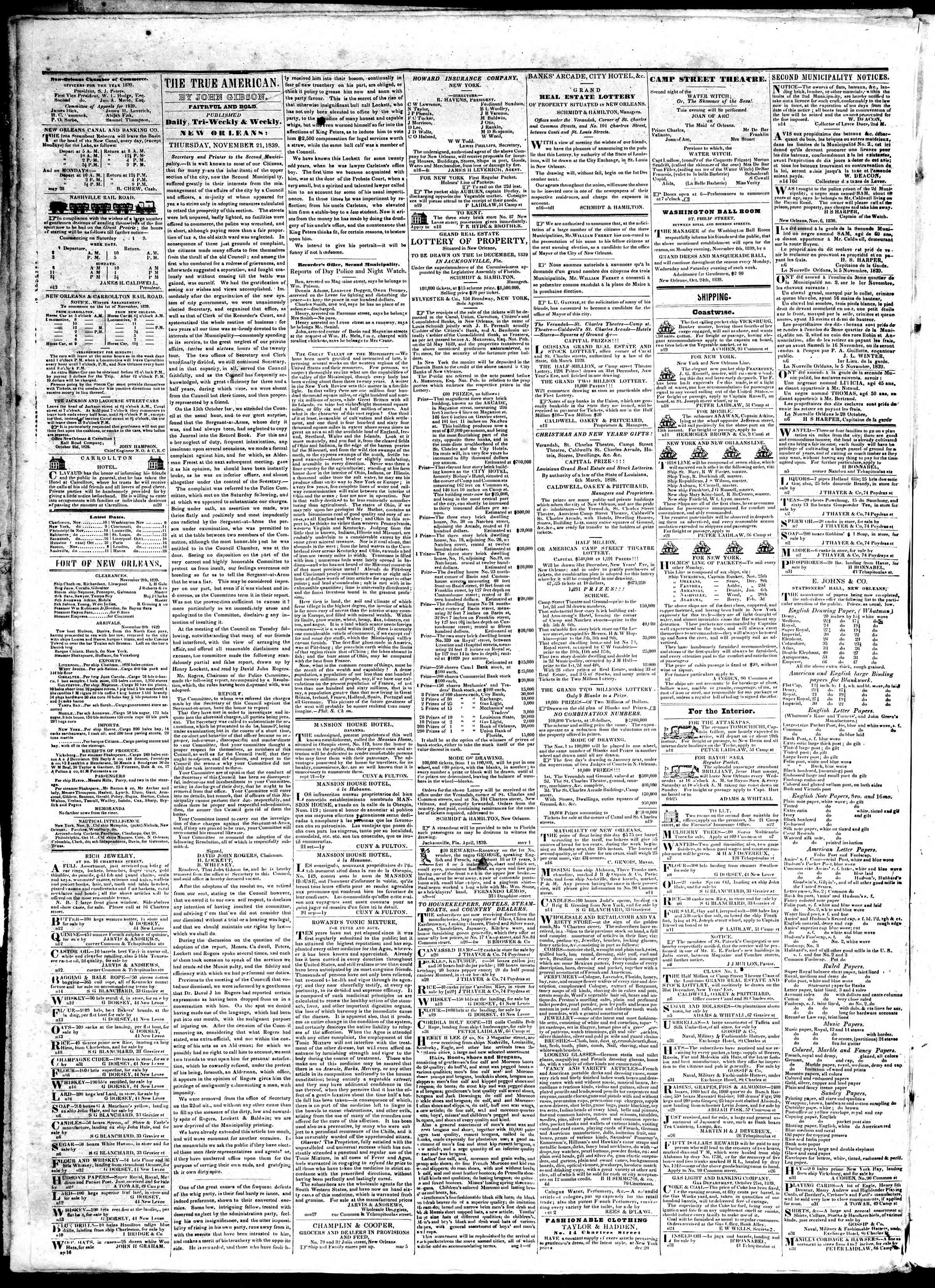 November 21, 1839 Tarihli True American Gazetesi Sayfa 2