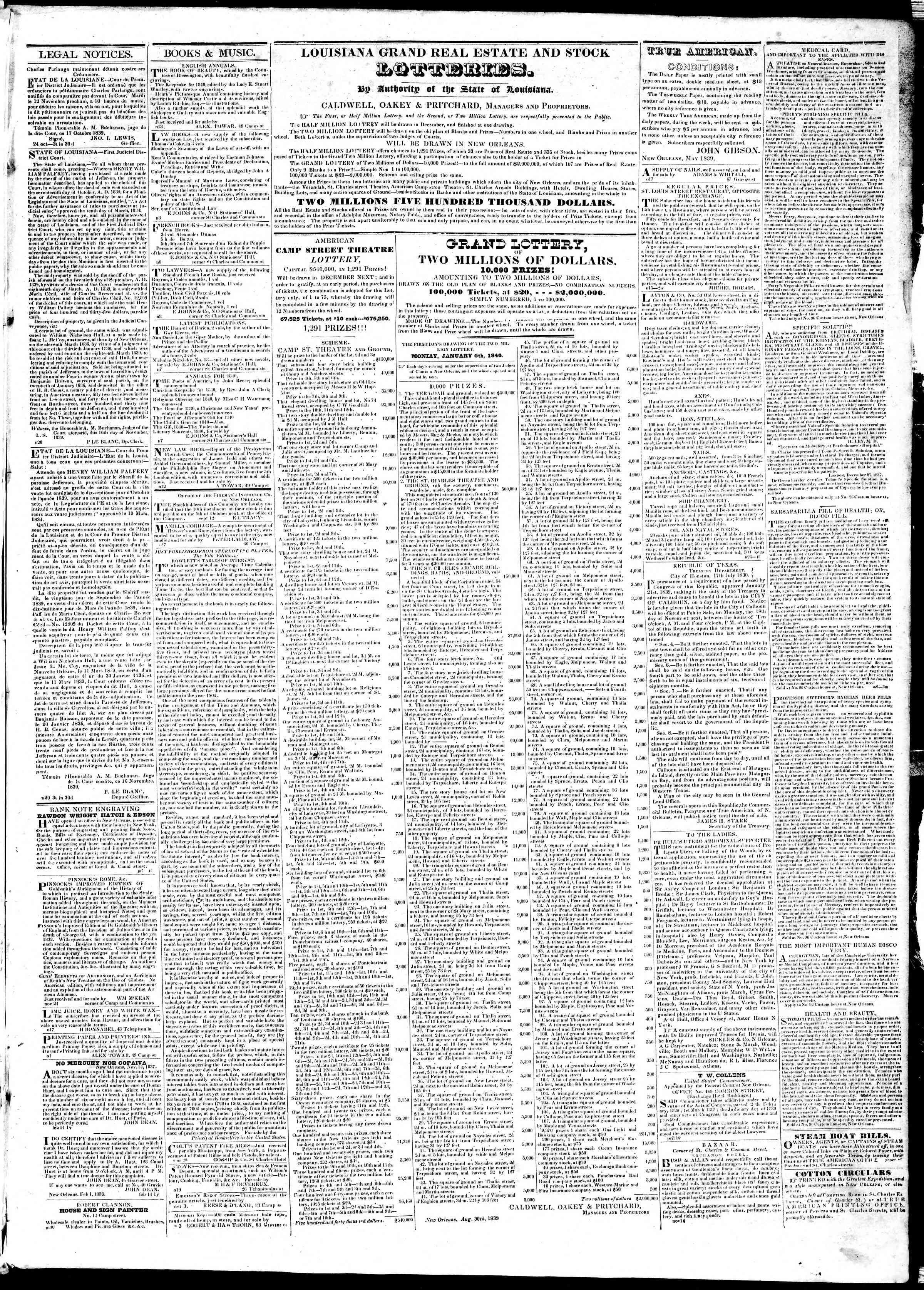 November 21, 1839 Tarihli True American Gazetesi Sayfa 3