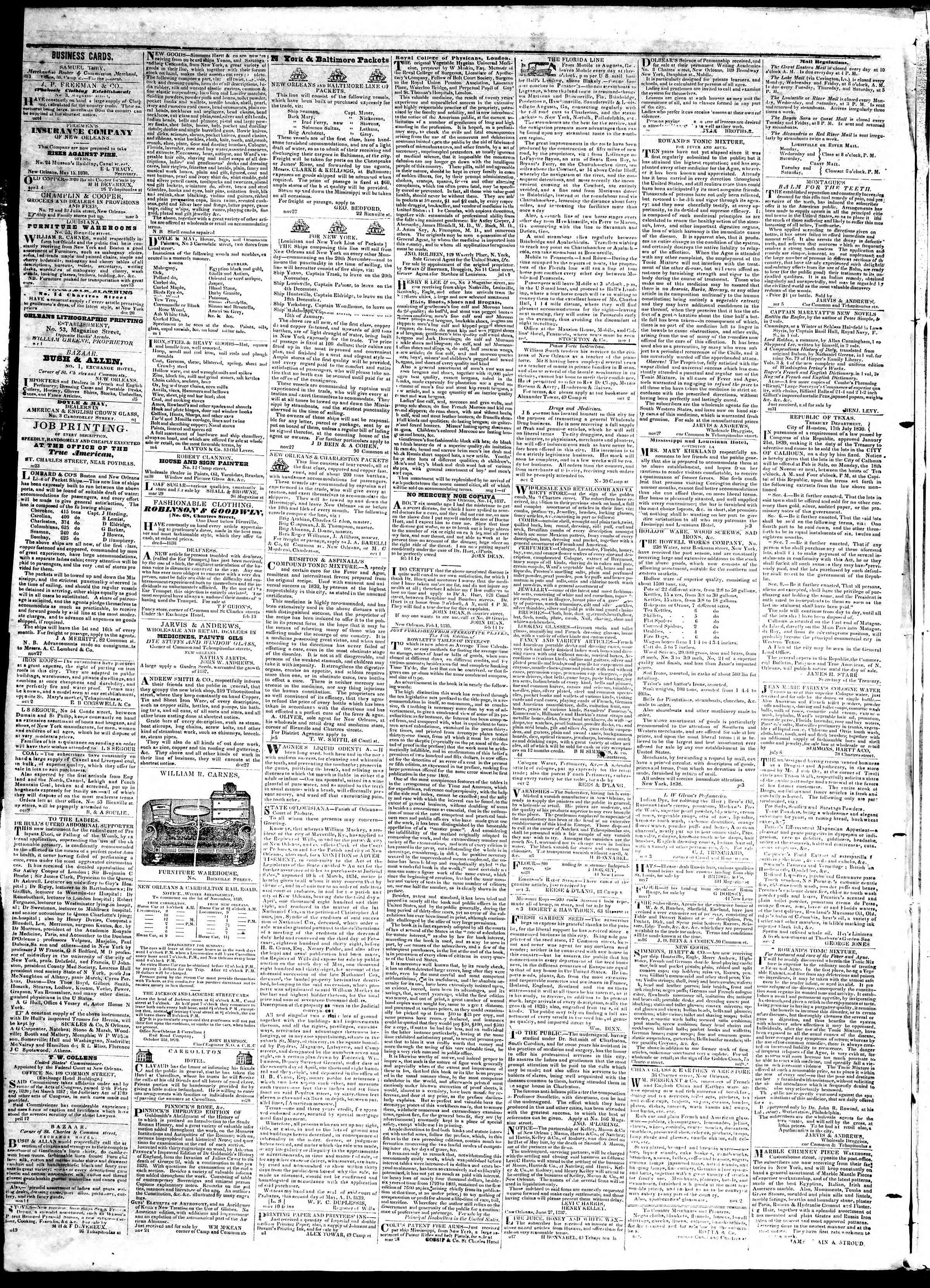 November 21, 1839 Tarihli True American Gazetesi Sayfa 4
