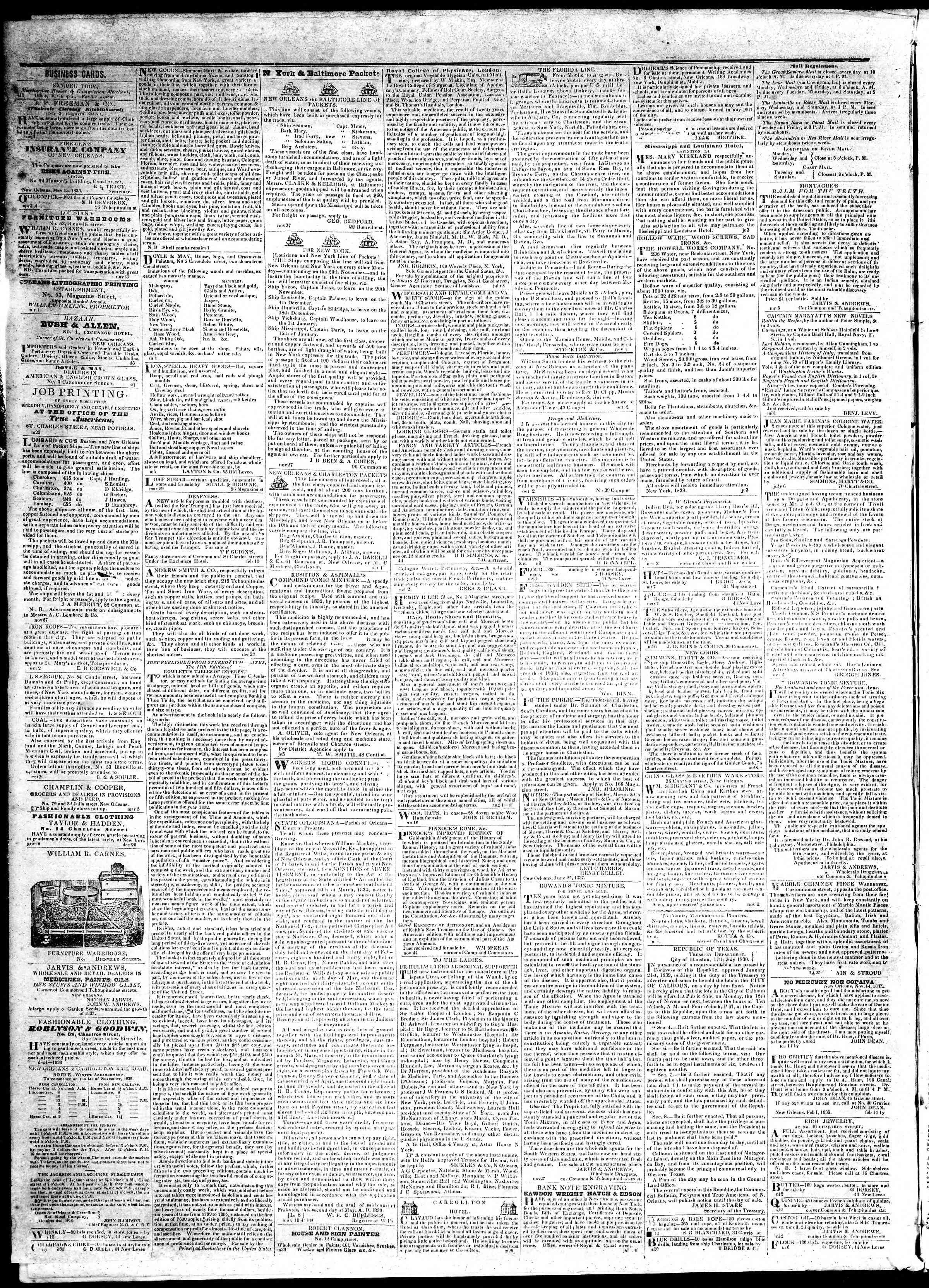 November 22, 1839 Tarihli True American Gazetesi Sayfa 4