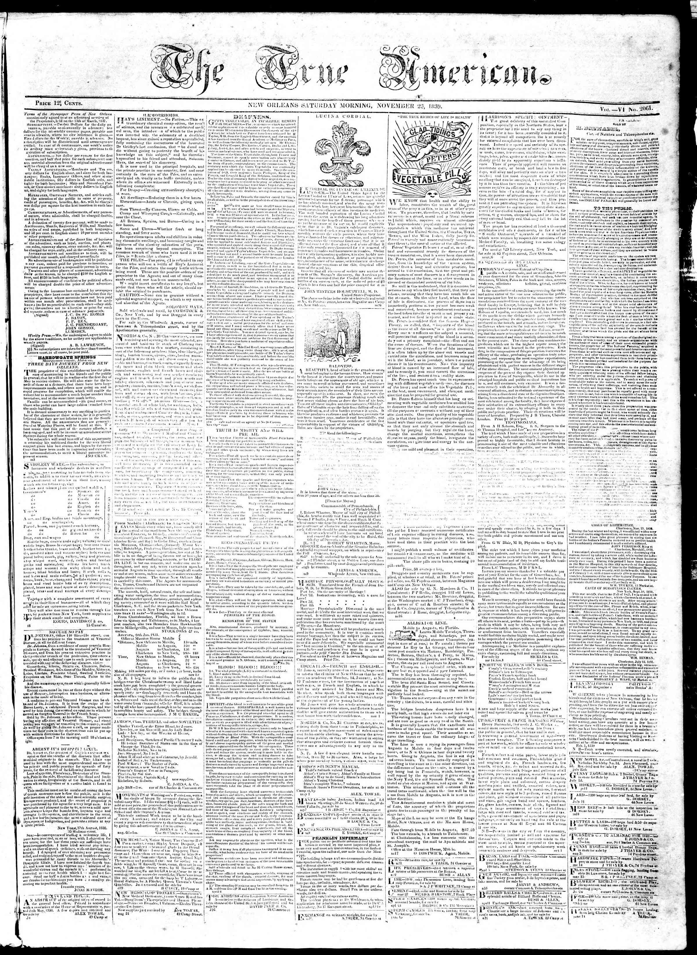 November 23, 1839 Tarihli True American Gazetesi Sayfa 1