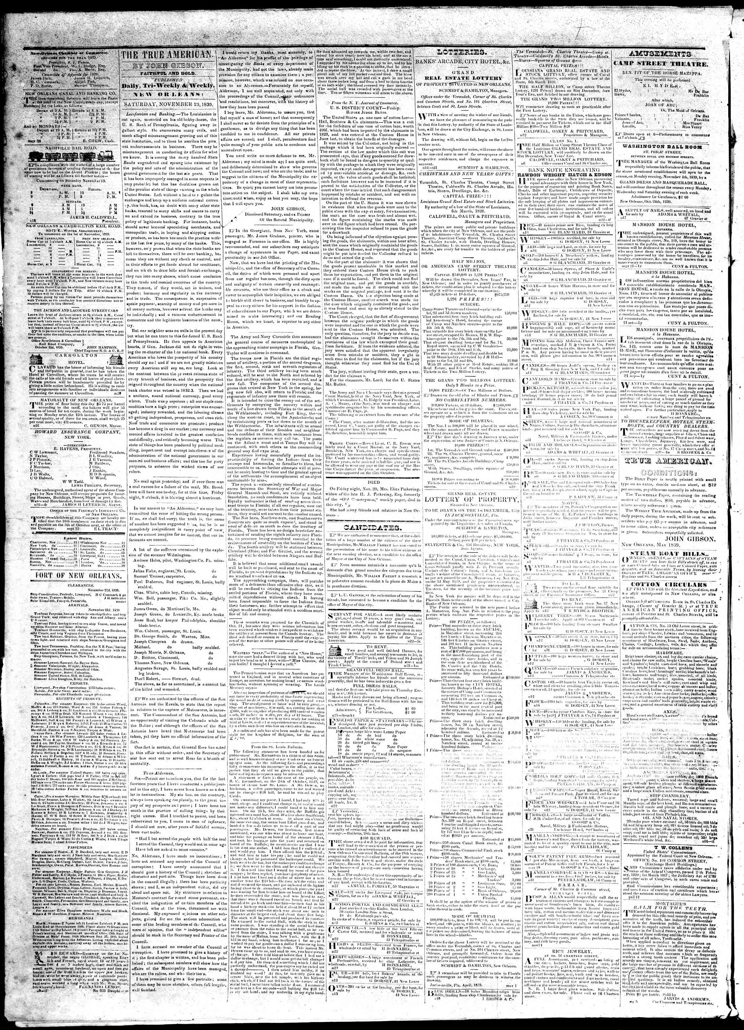 Newspaper of True American dated November 23, 1839 Page 2