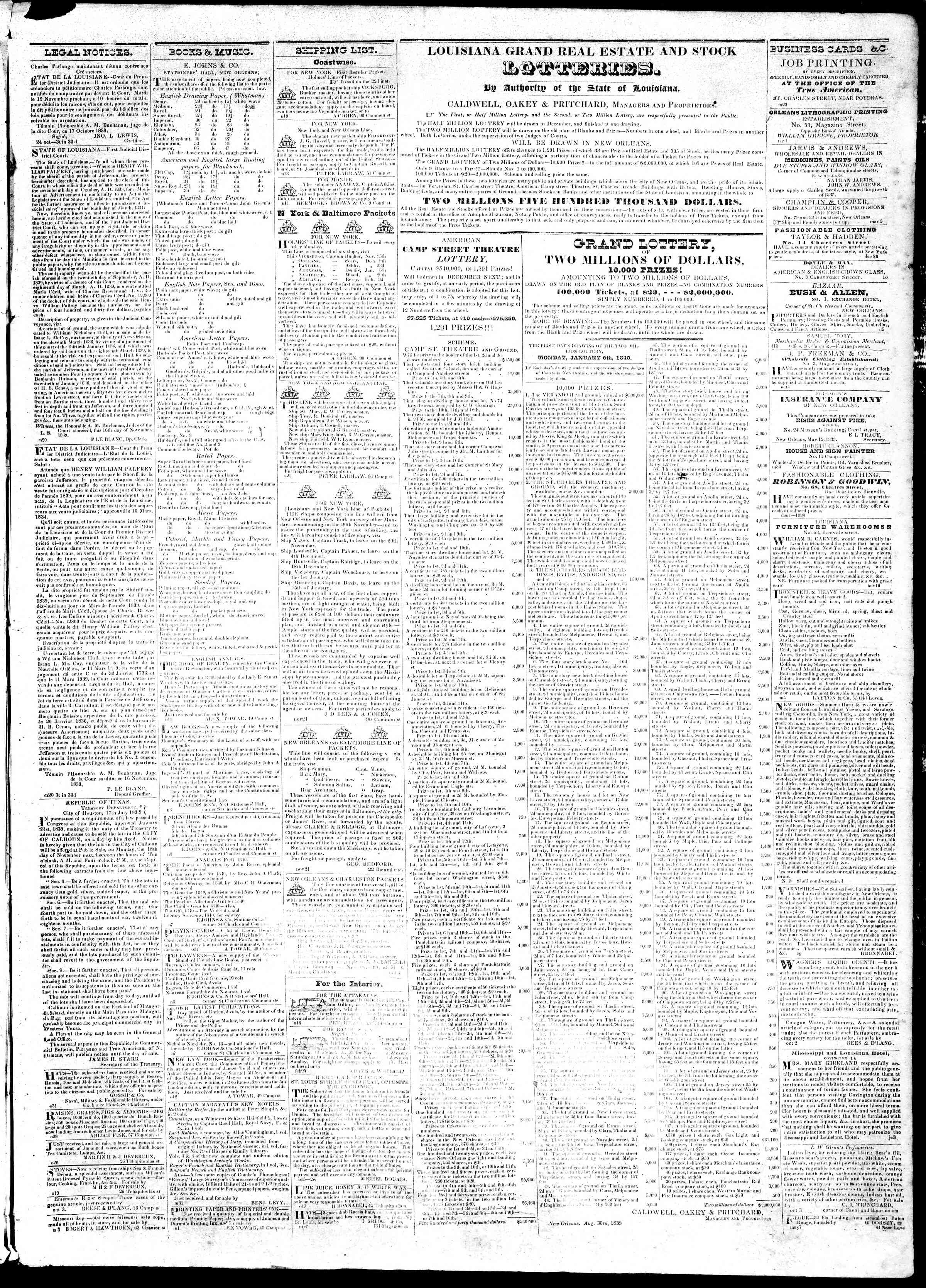 Newspaper of True American dated November 23, 1839 Page 3