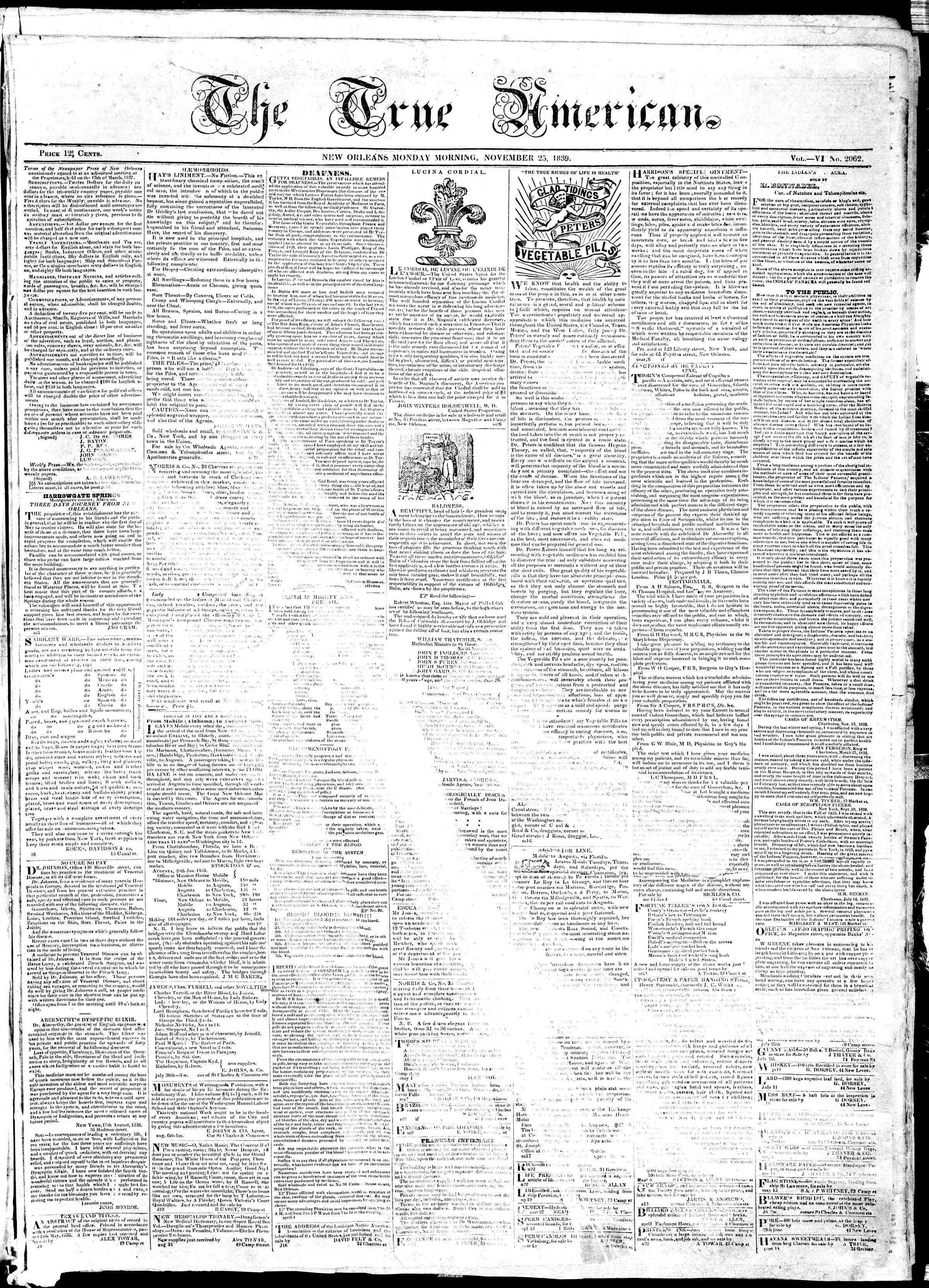 November 25, 1839 Tarihli True American Gazetesi Sayfa 1