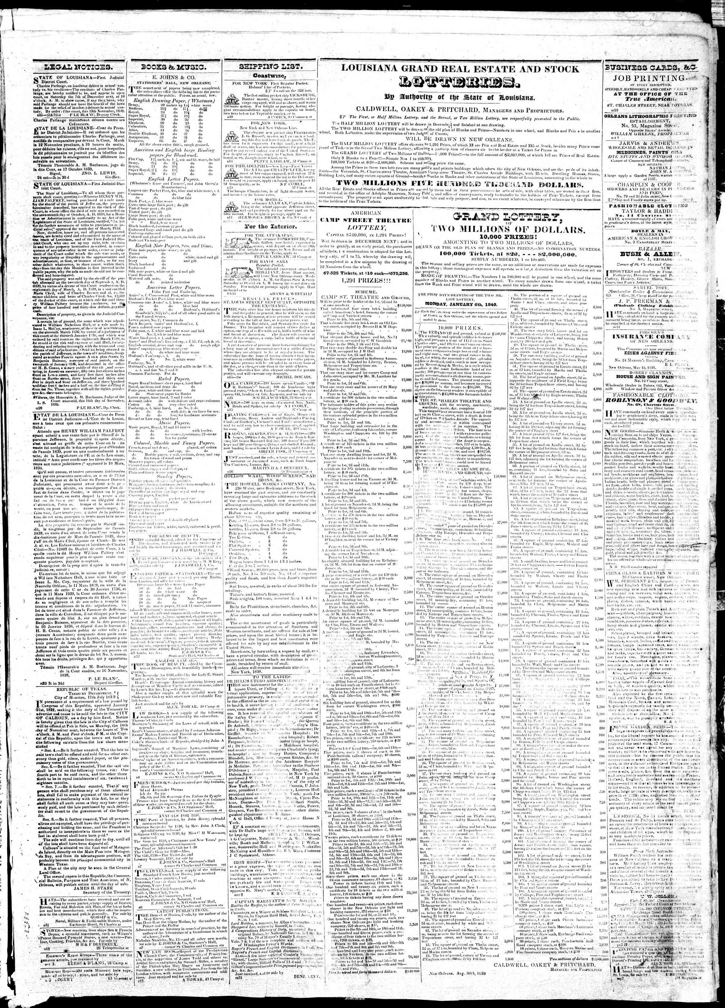 November 25, 1839 Tarihli True American Gazetesi Sayfa 3