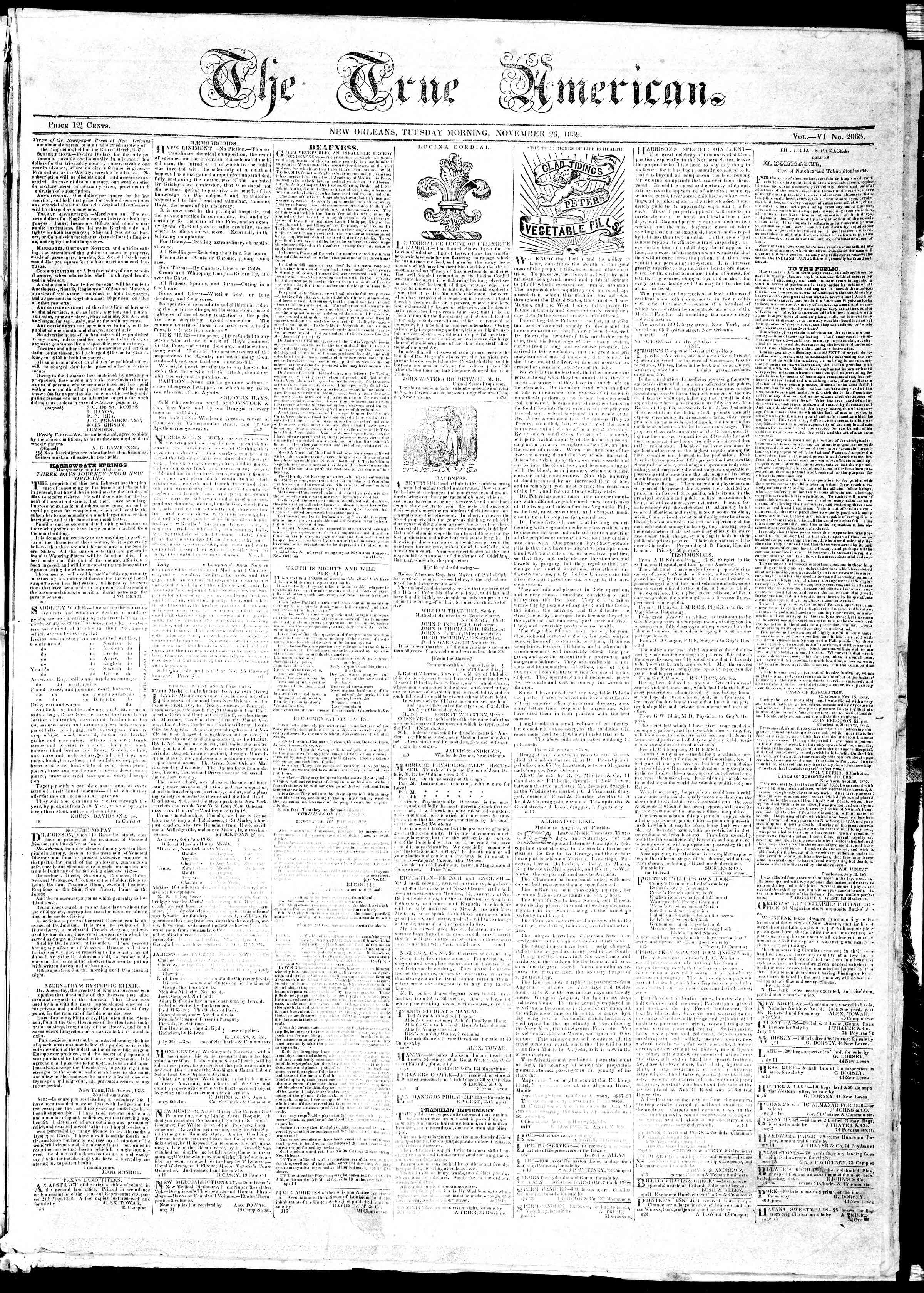 Newspaper of True American dated November 26, 1839 Page 1