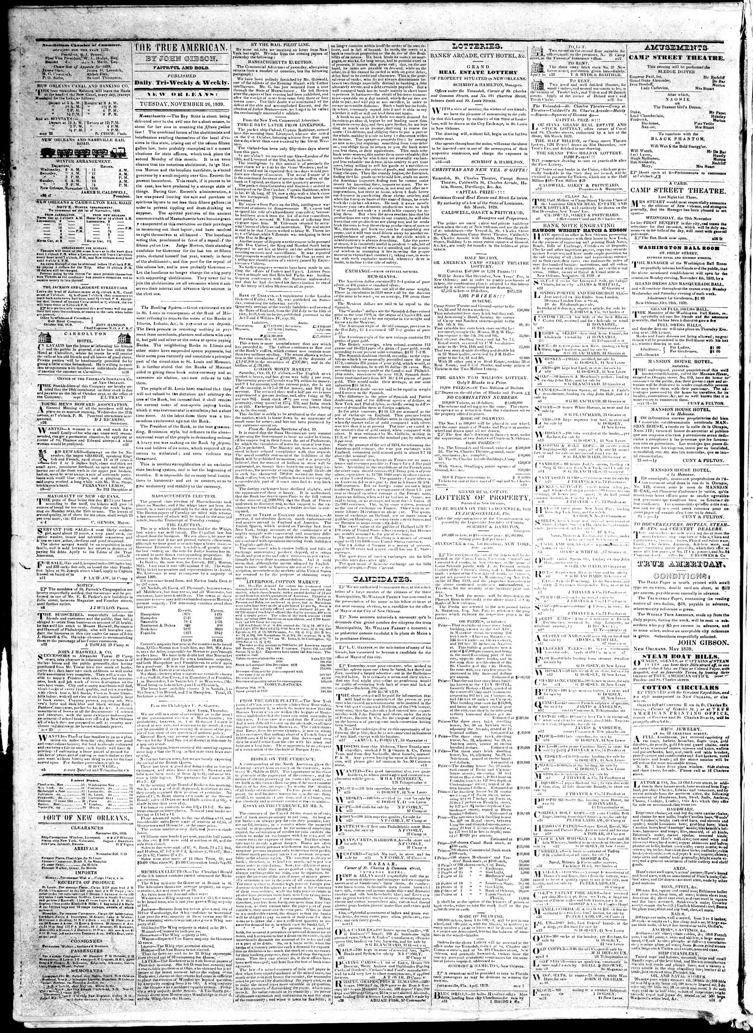 Newspaper of True American dated November 26, 1839 Page 2
