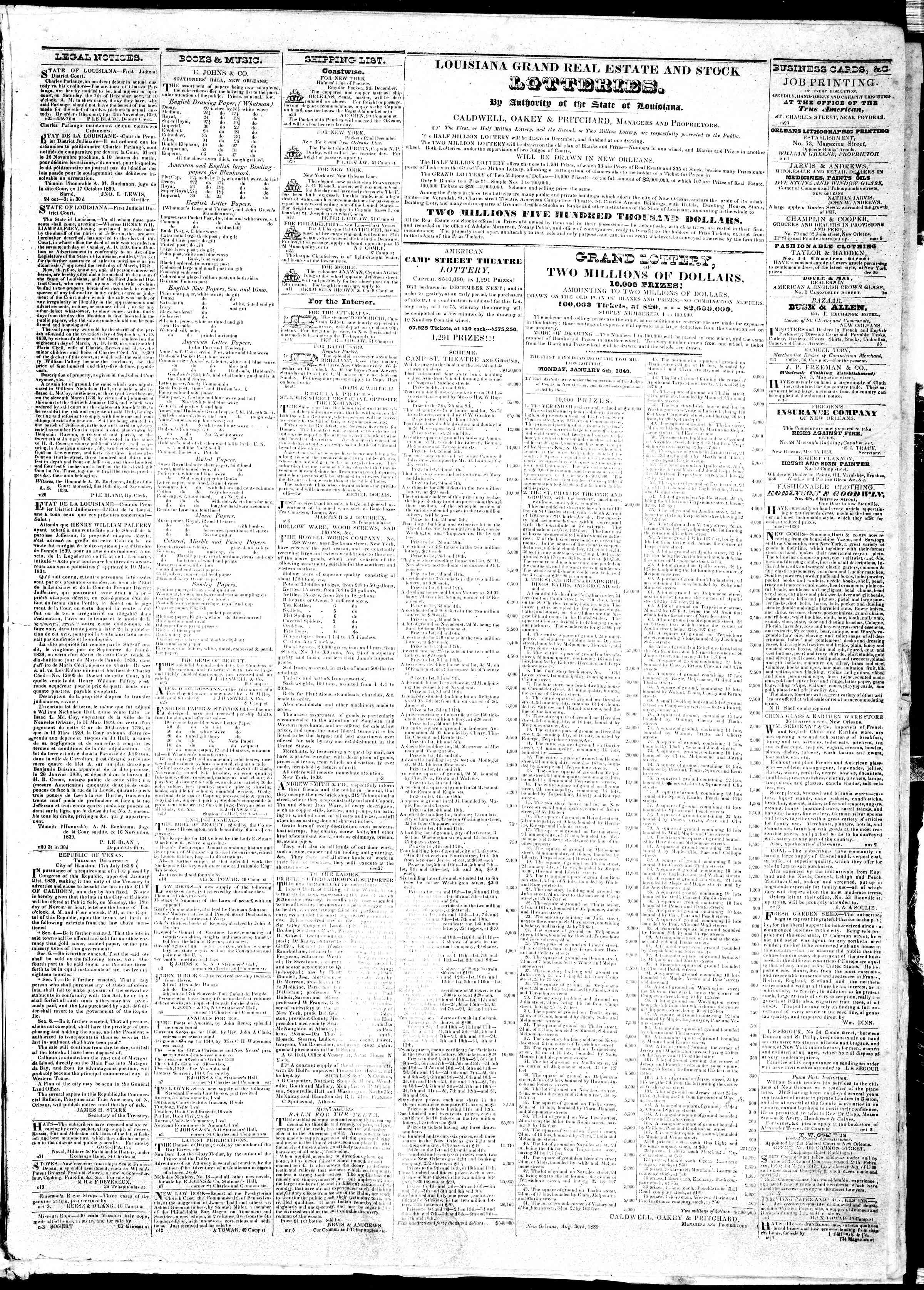 November 26, 1839 Tarihli True American Gazetesi Sayfa 3
