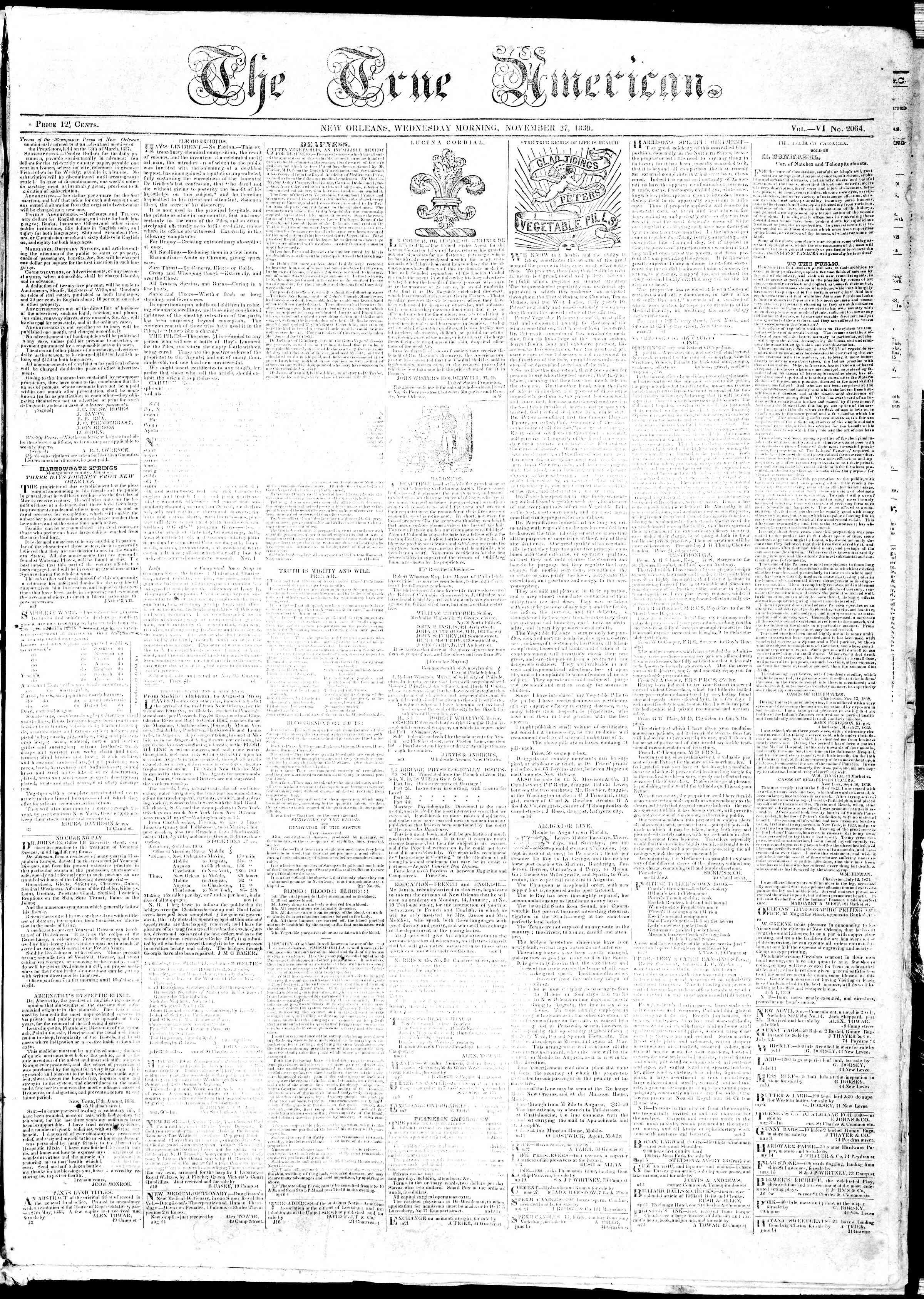 November 27, 1839 Tarihli True American Gazetesi Sayfa 1