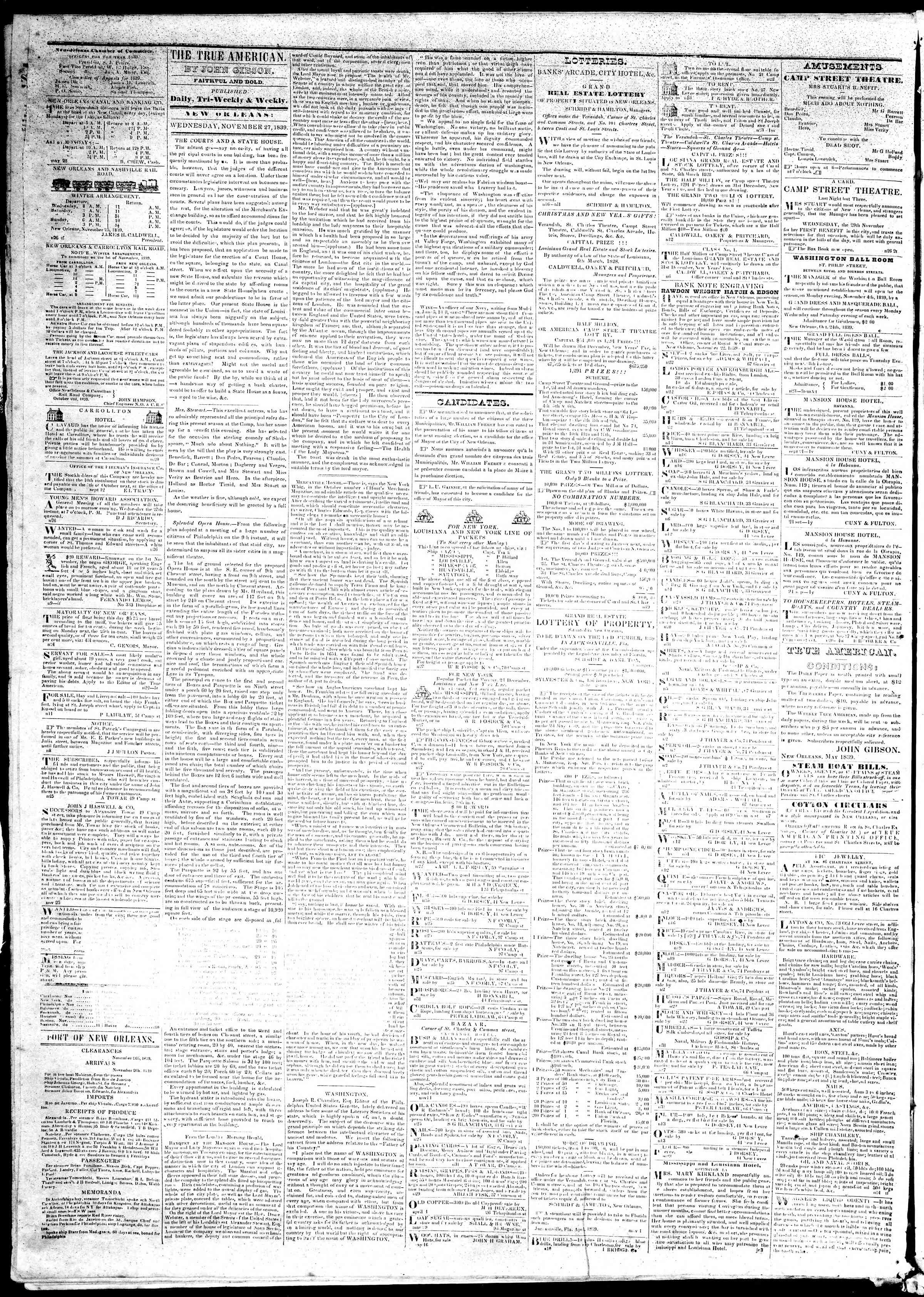 November 27, 1839 Tarihli True American Gazetesi Sayfa 2