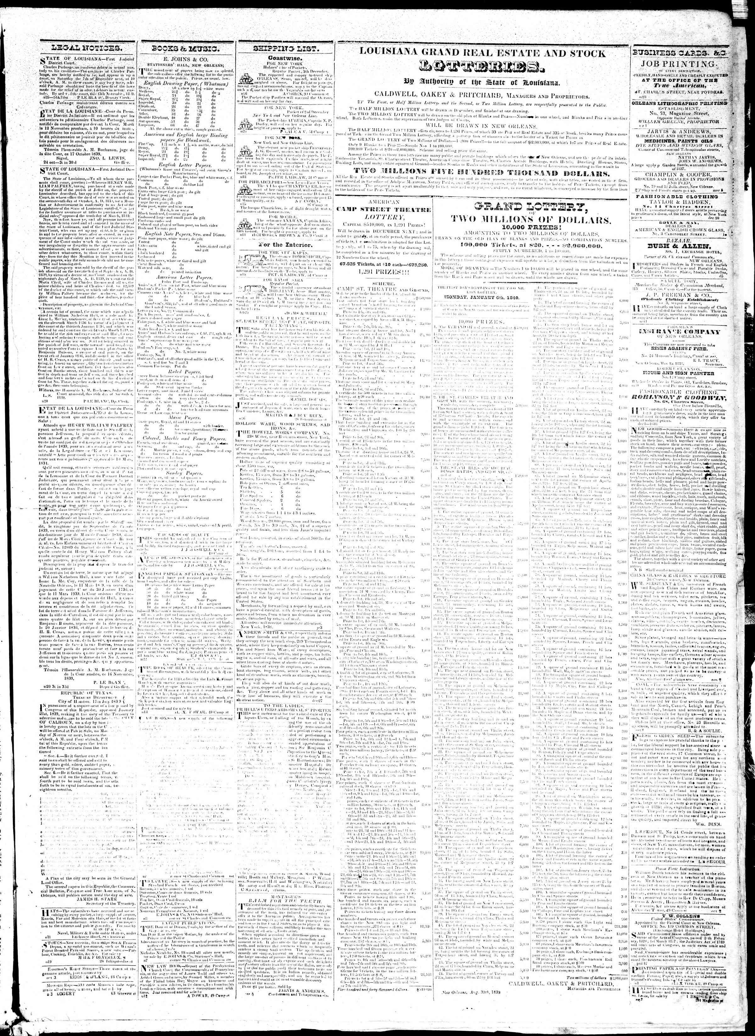 November 27, 1839 Tarihli True American Gazetesi Sayfa 3