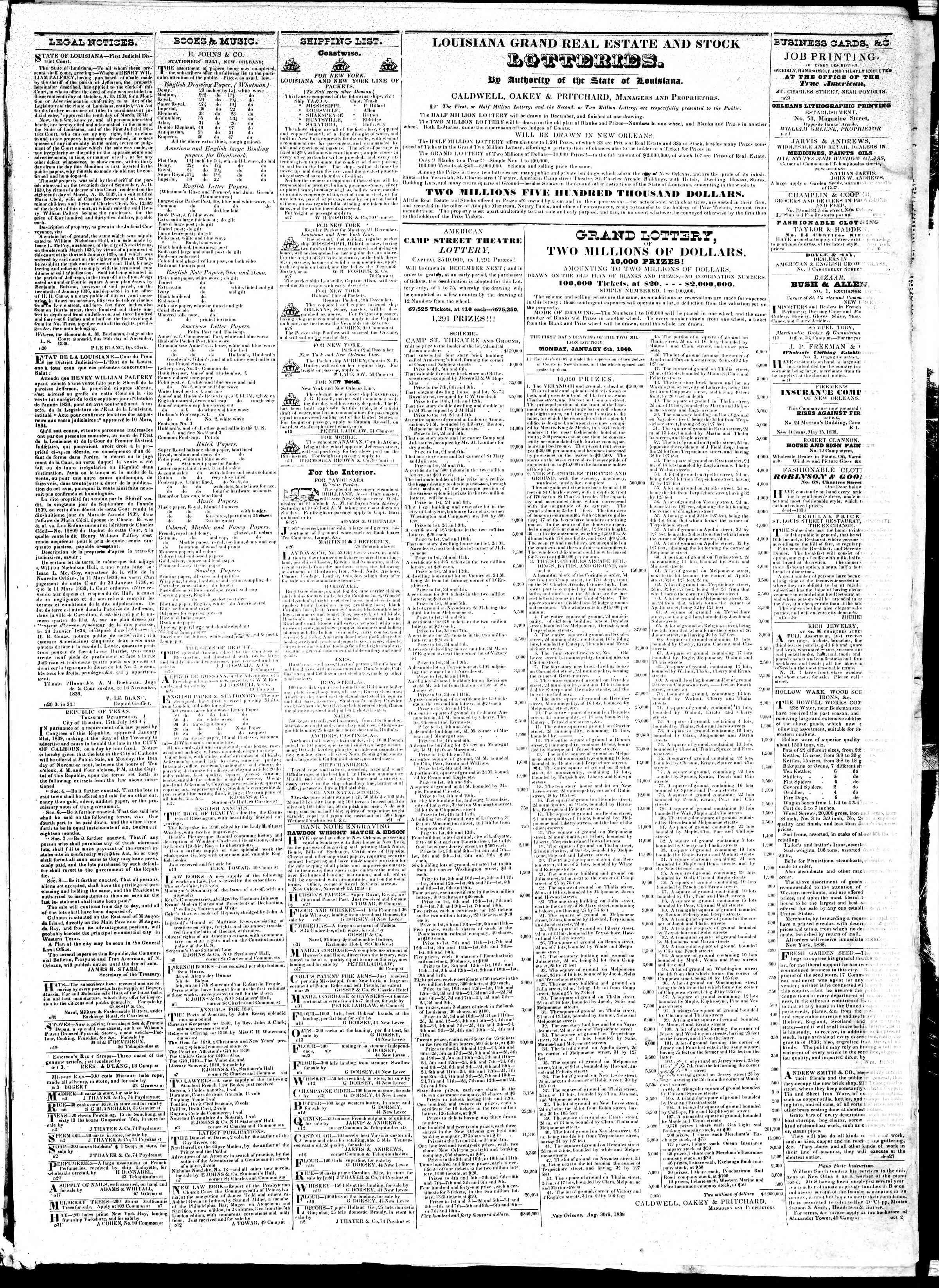 November 28, 1839 Tarihli True American Gazetesi Sayfa 3