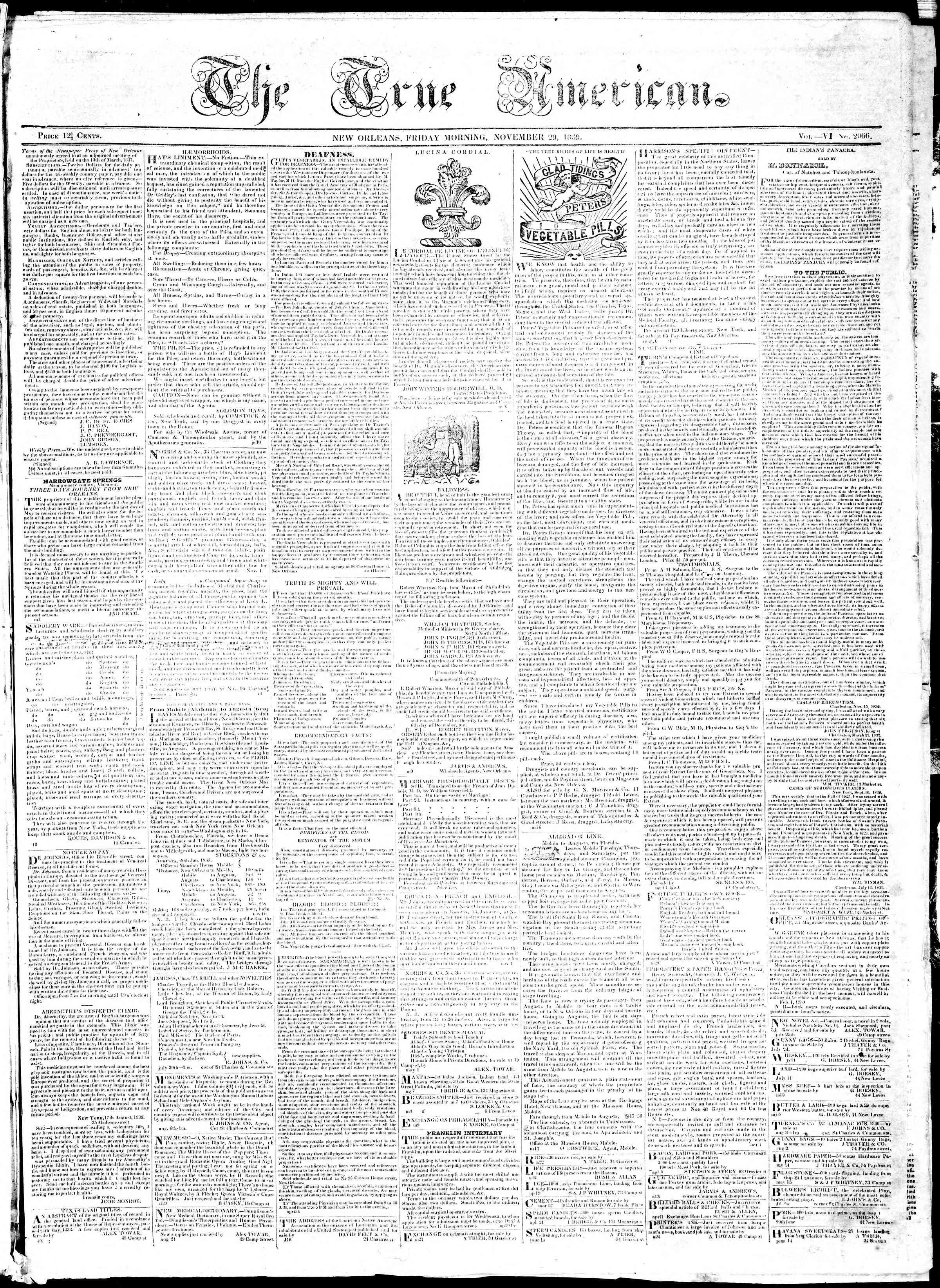 29 Kasım 1839 Tarihli True American Gazetesi Sayfa 1