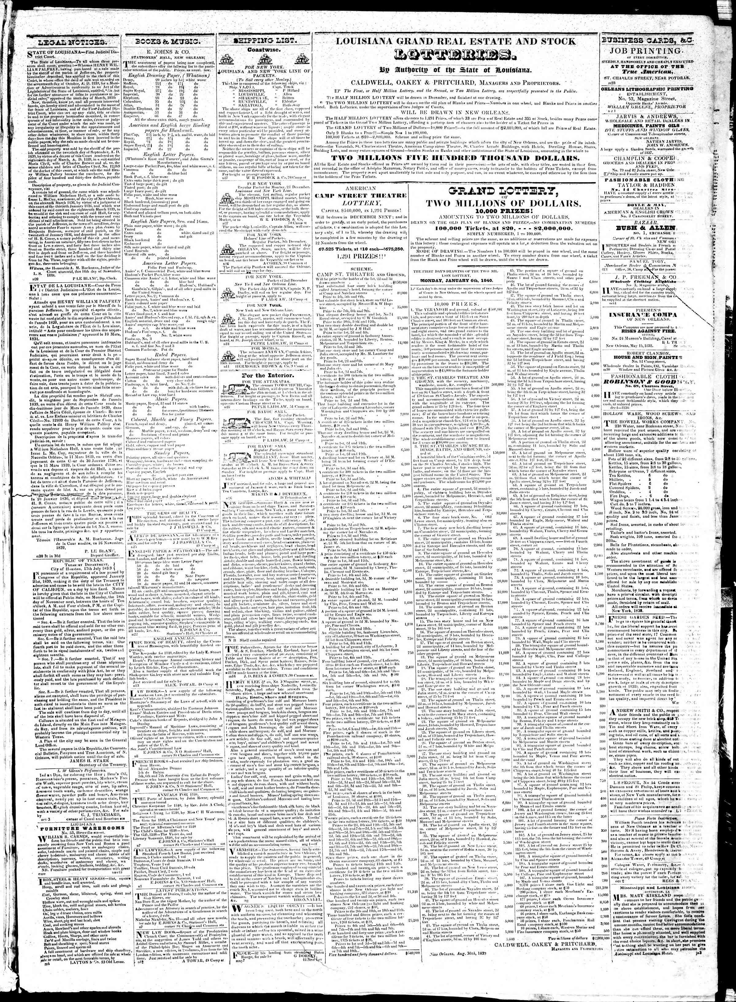 November 29, 1839 Tarihli True American Gazetesi Sayfa 3