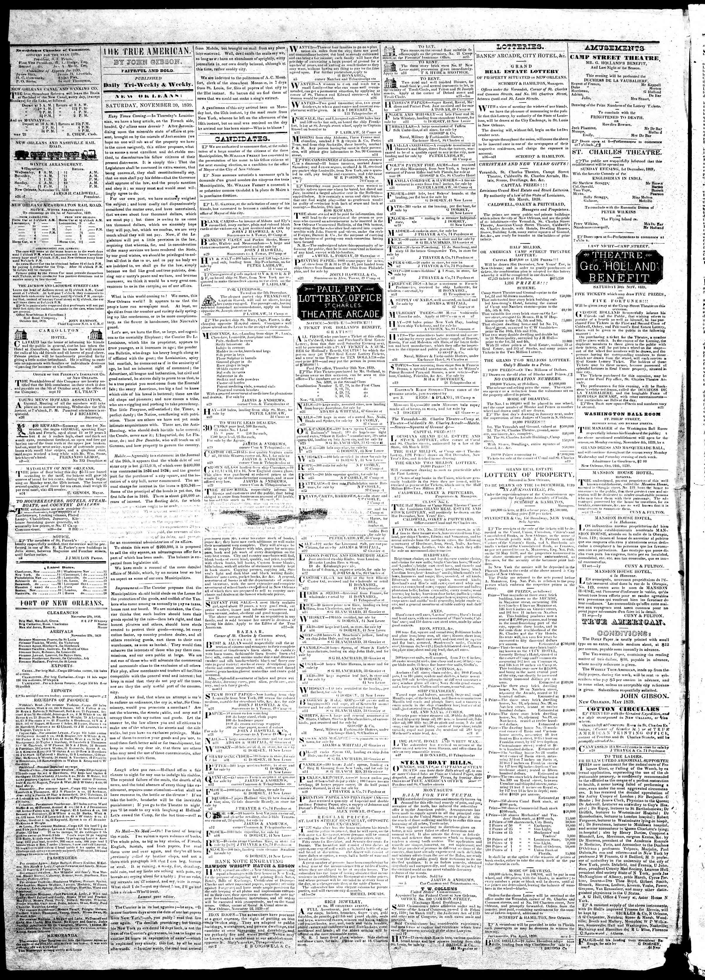 Newspaper of True American dated November 30, 1839 Page 2