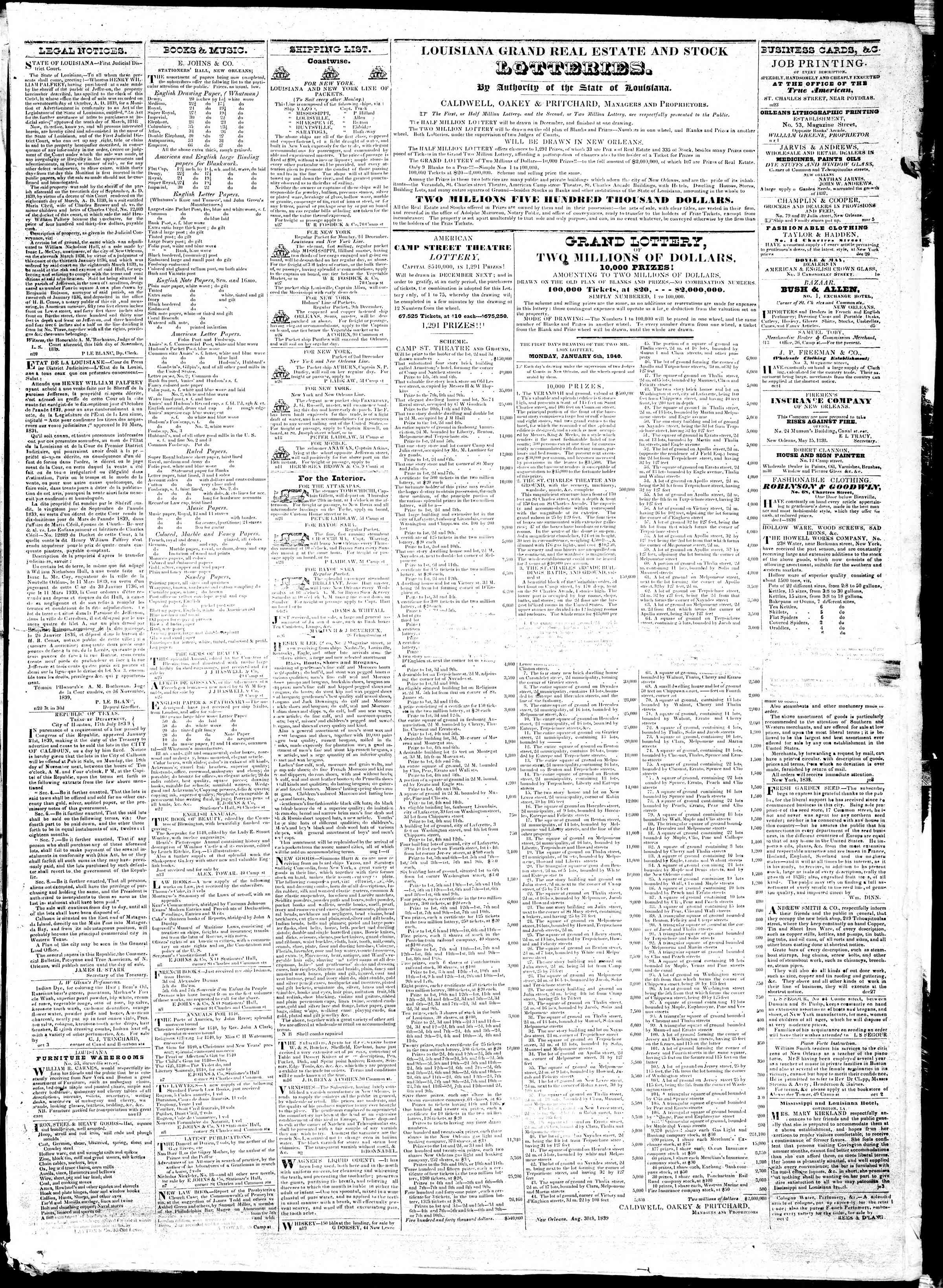 Newspaper of True American dated November 30, 1839 Page 3