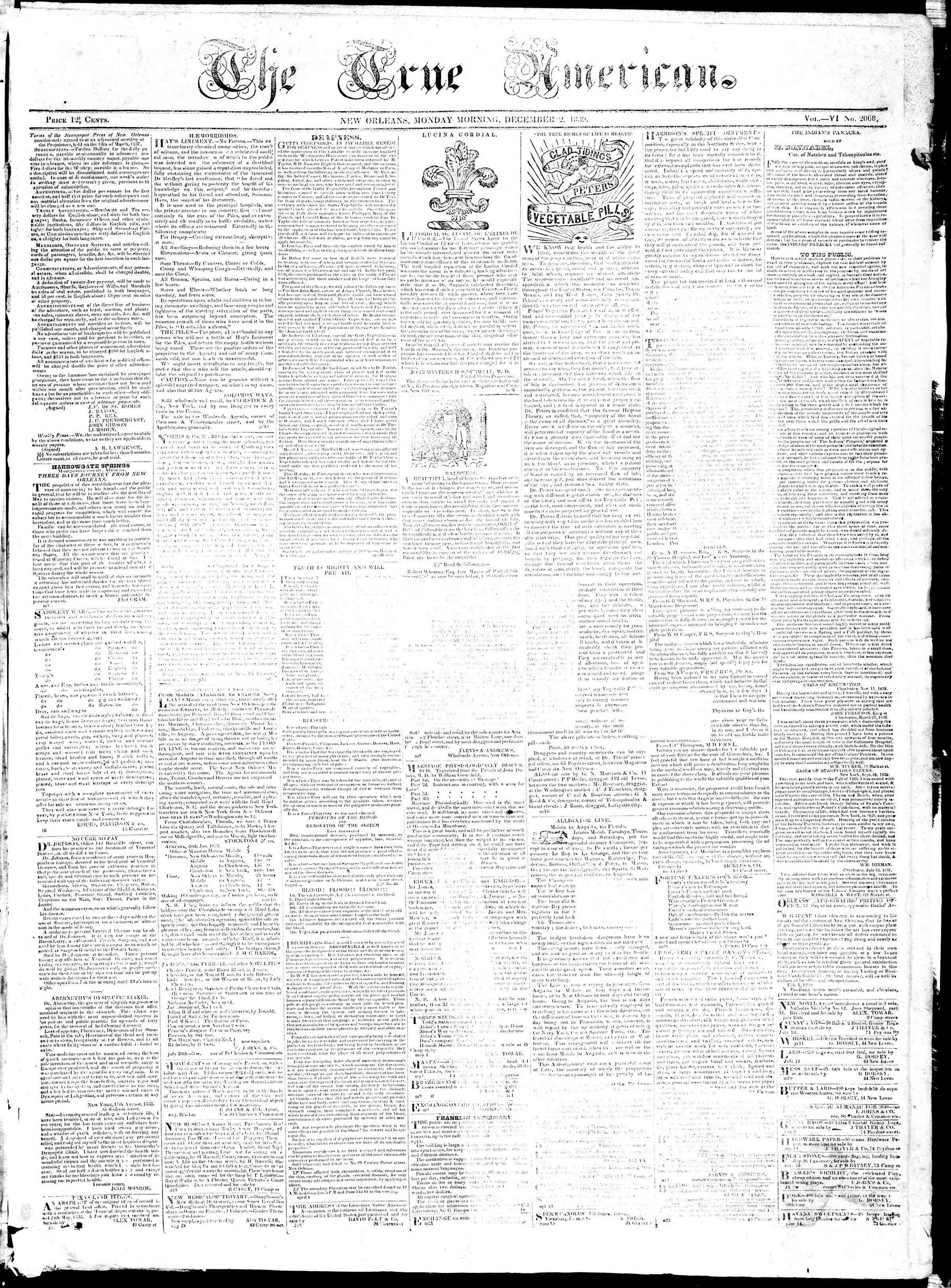December 2, 1839 Tarihli True American Gazetesi Sayfa 1