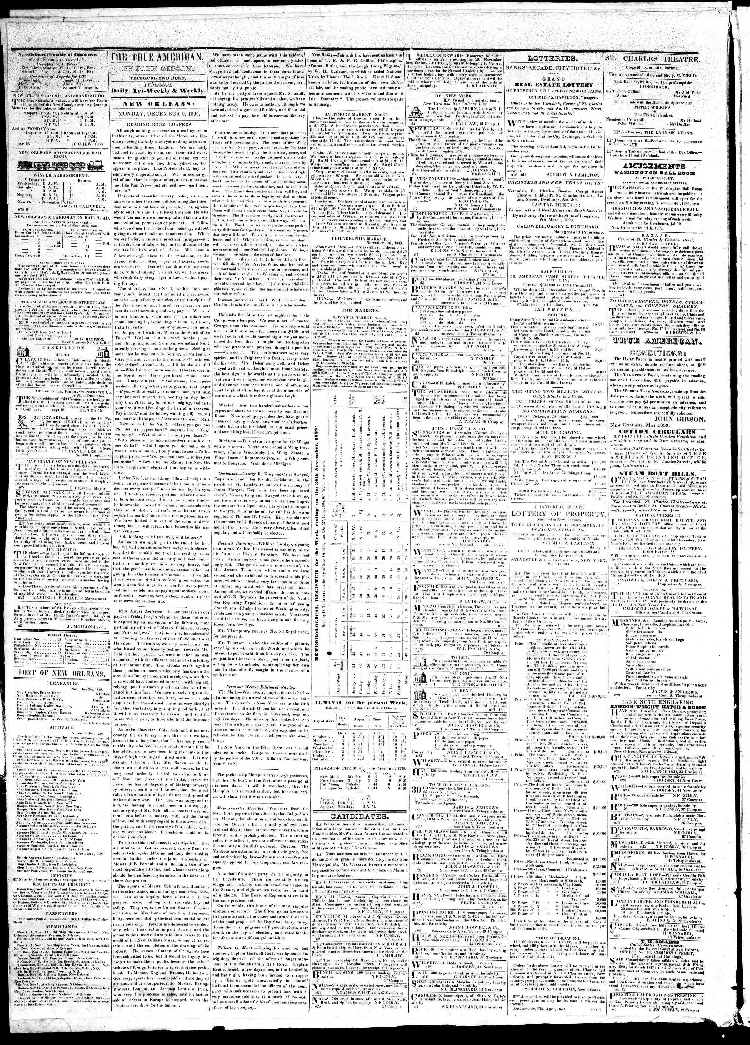 2 Aralık 1839 Tarihli True American Gazetesi Sayfa 2