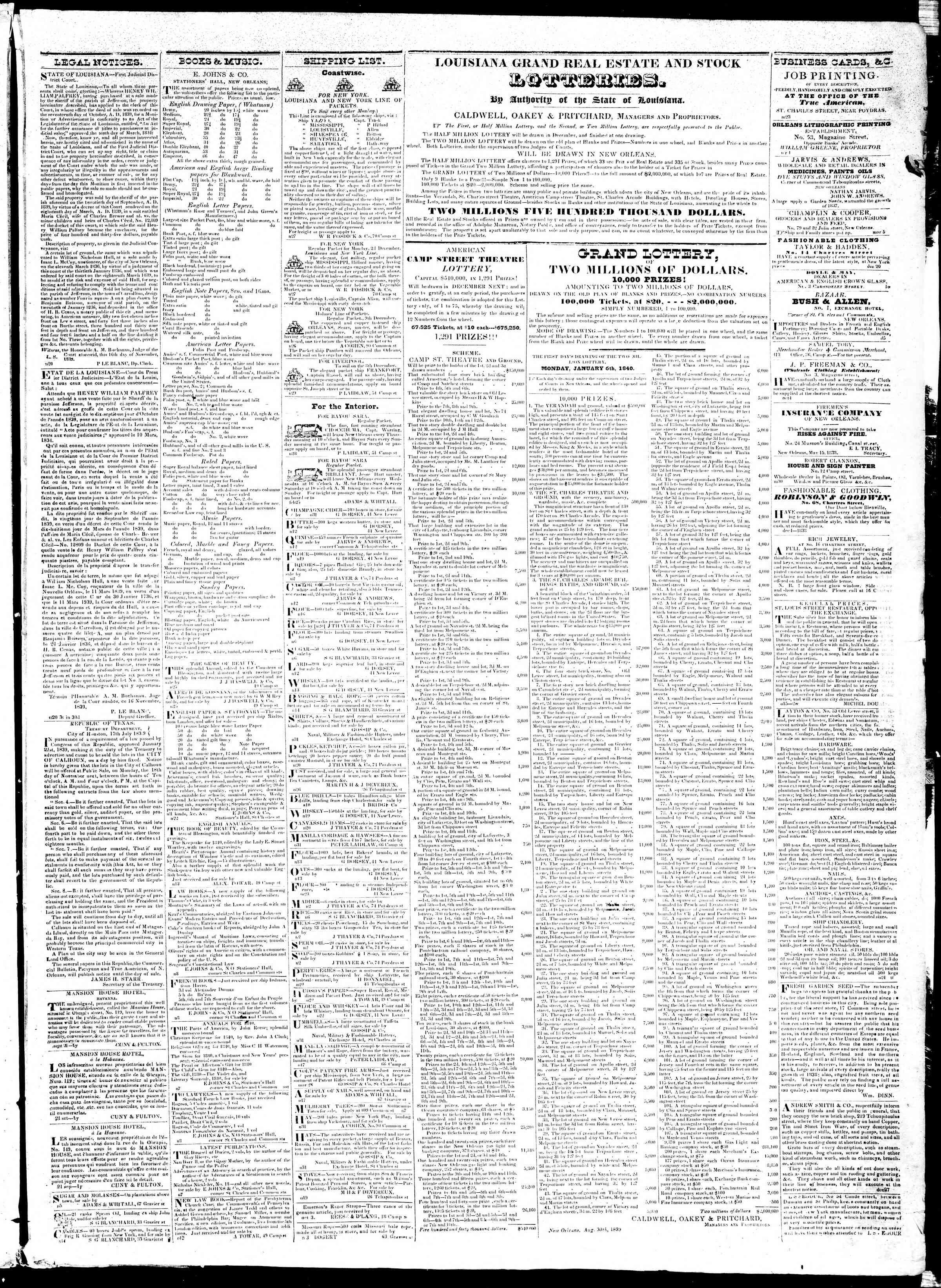 December 2, 1839 Tarihli True American Gazetesi Sayfa 3