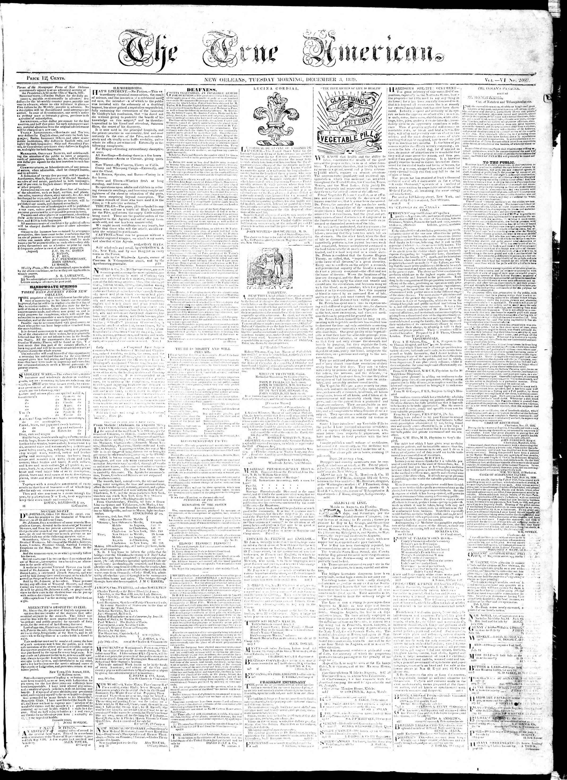 3 Aralık 1839 tarihli True American Gazetesi Sayfa 1